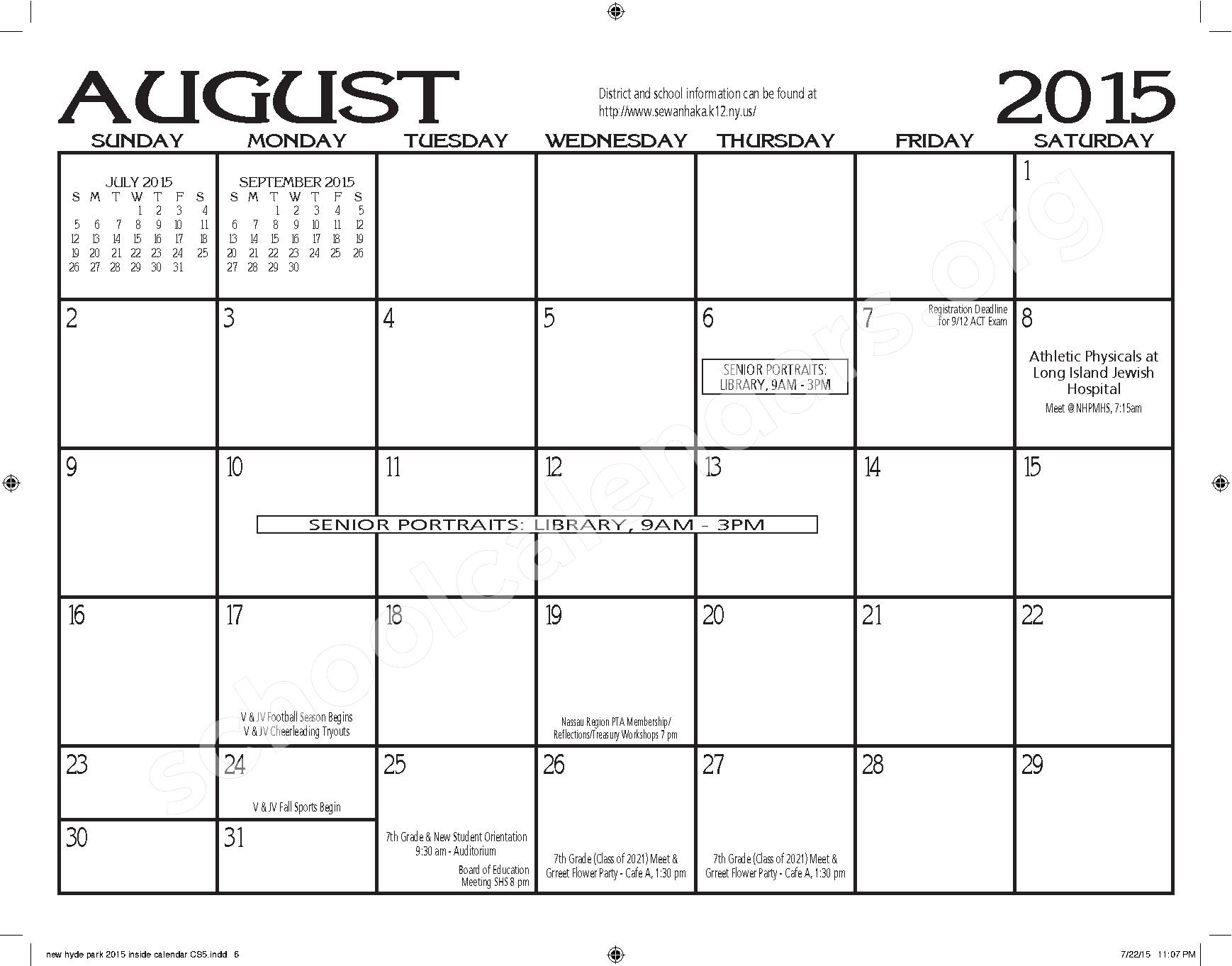 2015 - 2016 New Hyde Park Memorial HS Calendar – New Hyde Park Memorial High School – page 6