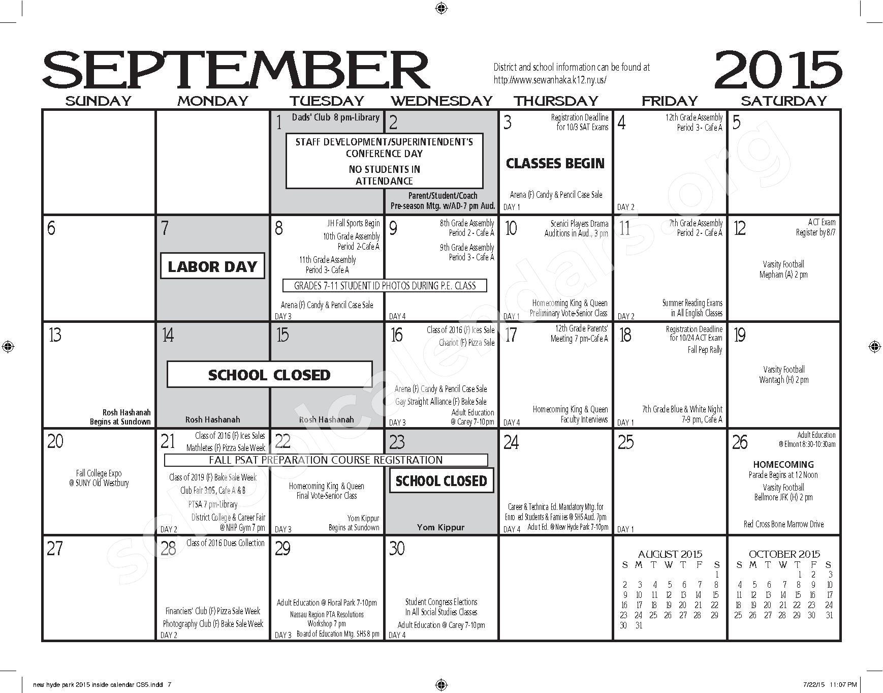 2015 - 2016 New Hyde Park Memorial HS Calendar – New Hyde Park Memorial High School – page 7