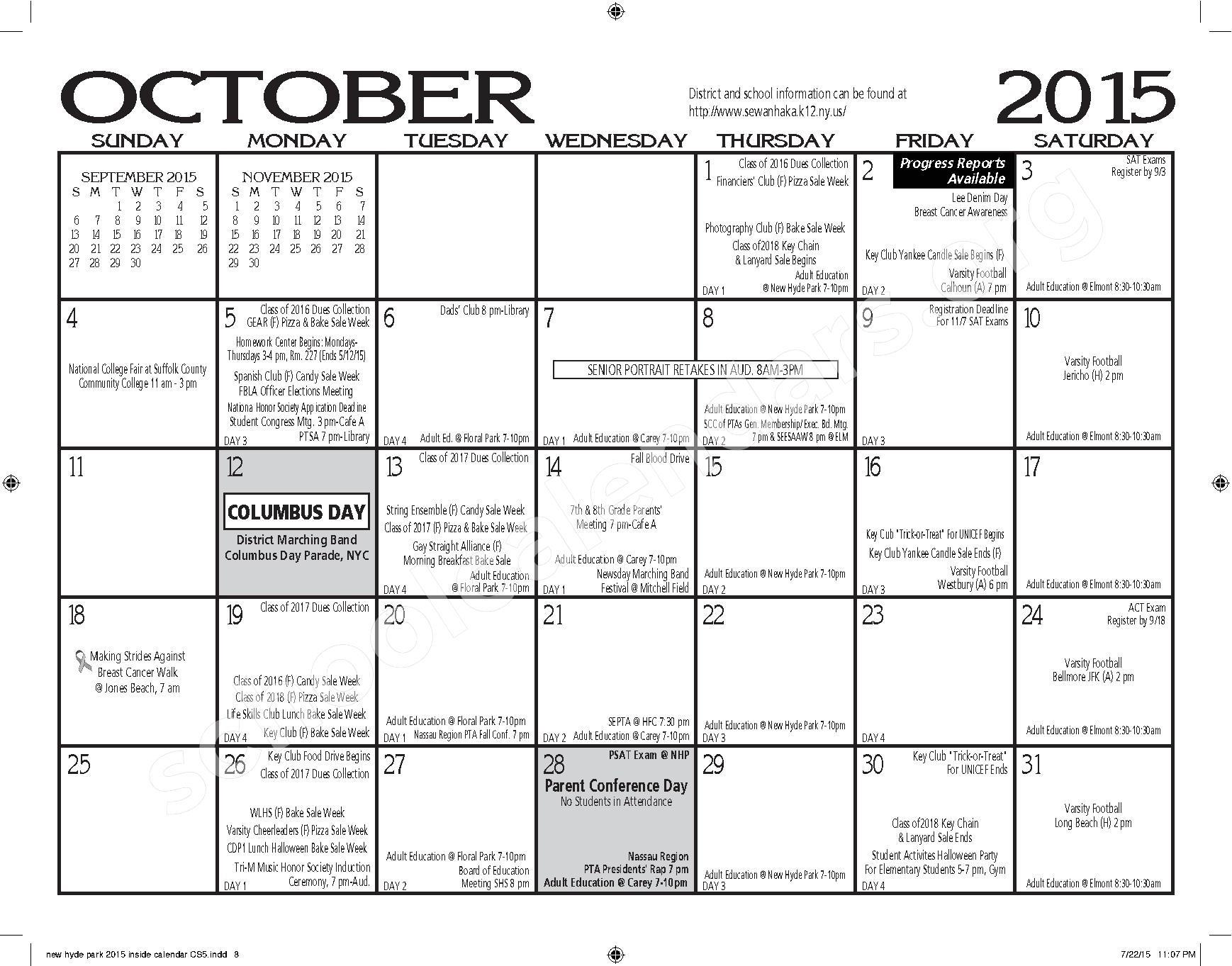 2015 - 2016 New Hyde Park Memorial HS Calendar – New Hyde Park Memorial High School – page 8