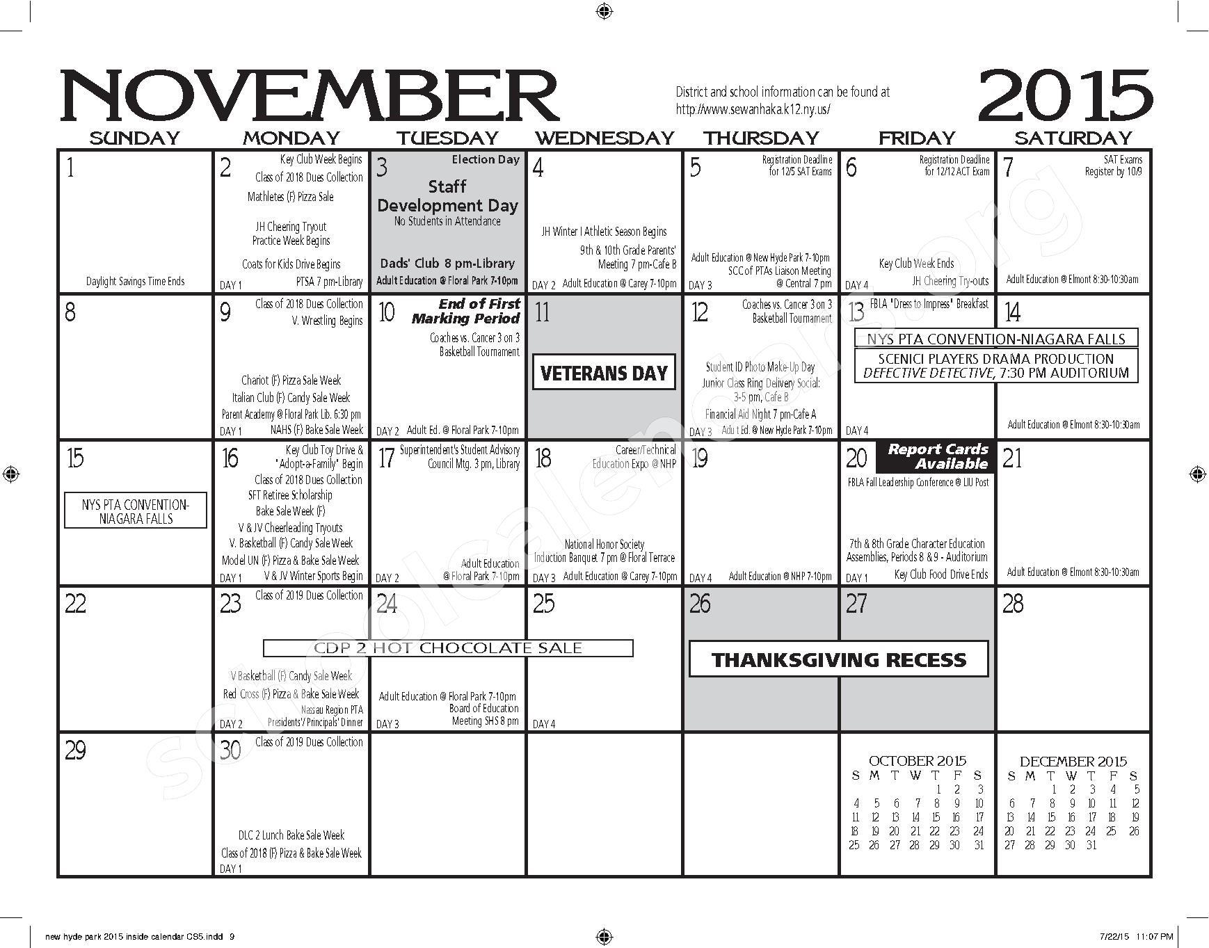 2015 - 2016 New Hyde Park Memorial HS Calendar – New Hyde Park Memorial High School – page 9
