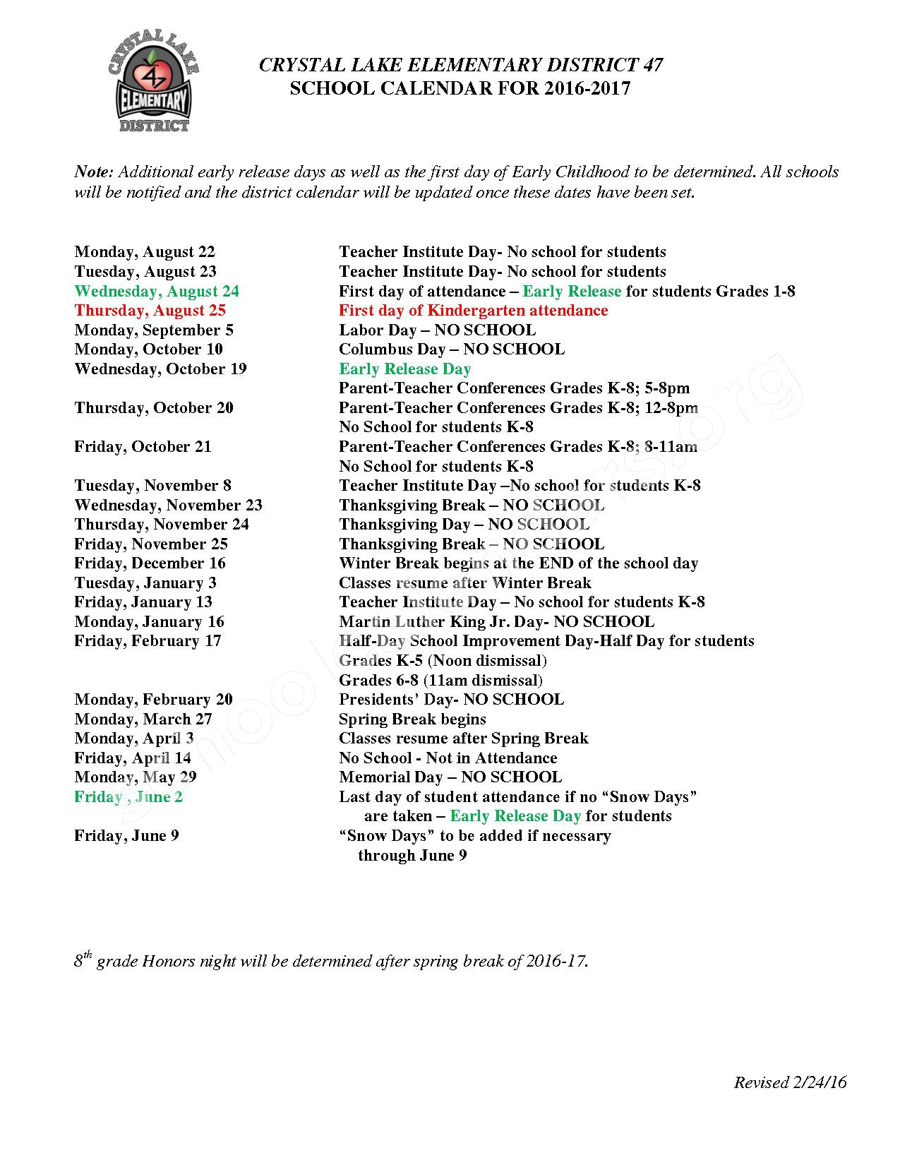 2016-2017 District Calendar – Husmann Elementary School – page 1