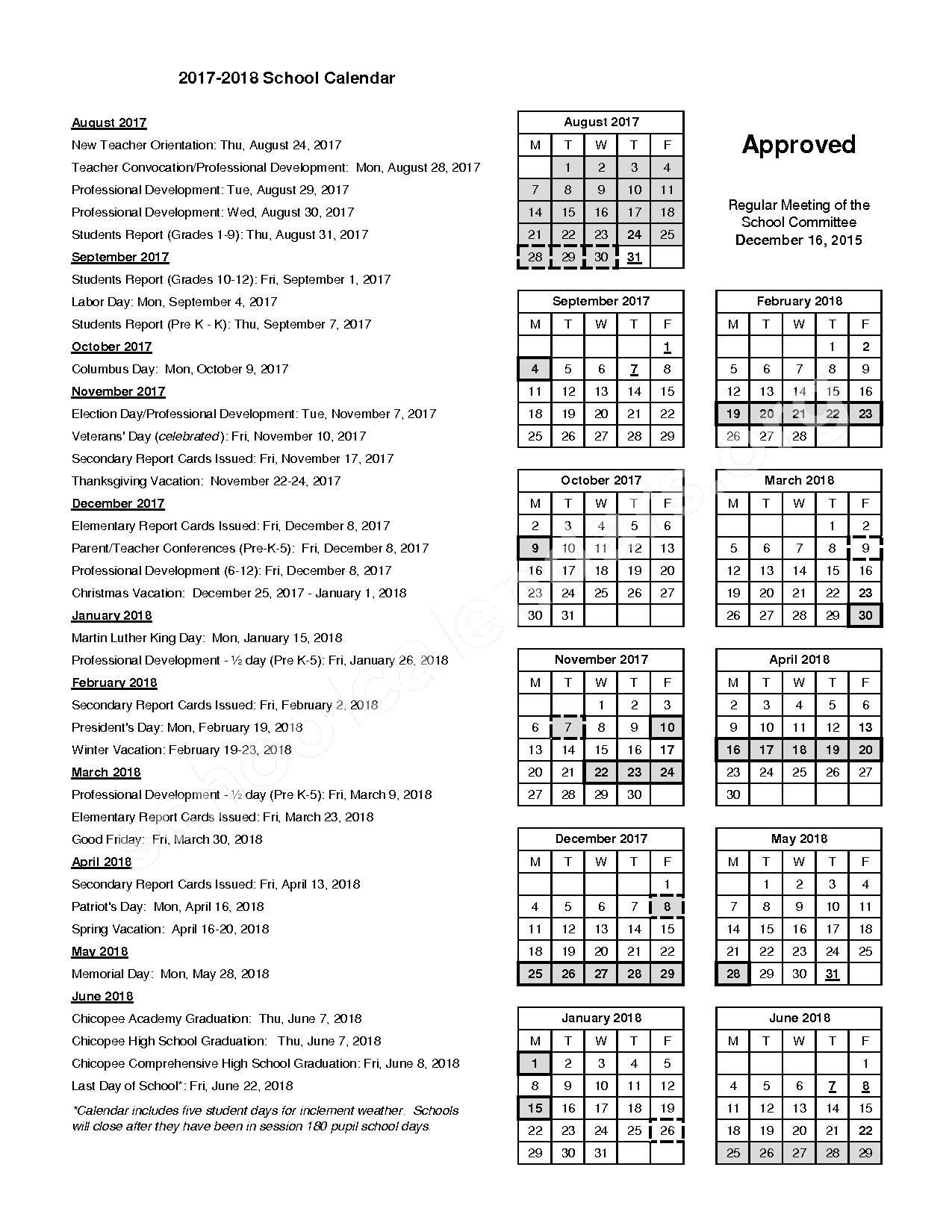 2017 - 2018 School Calendar – Szetela Early Childhood Center – page 1