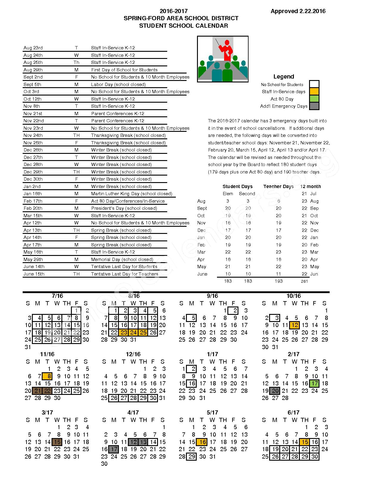 2016-2017 School Calendar – Spring-Ford Middle School 7th Grade Center – page 1
