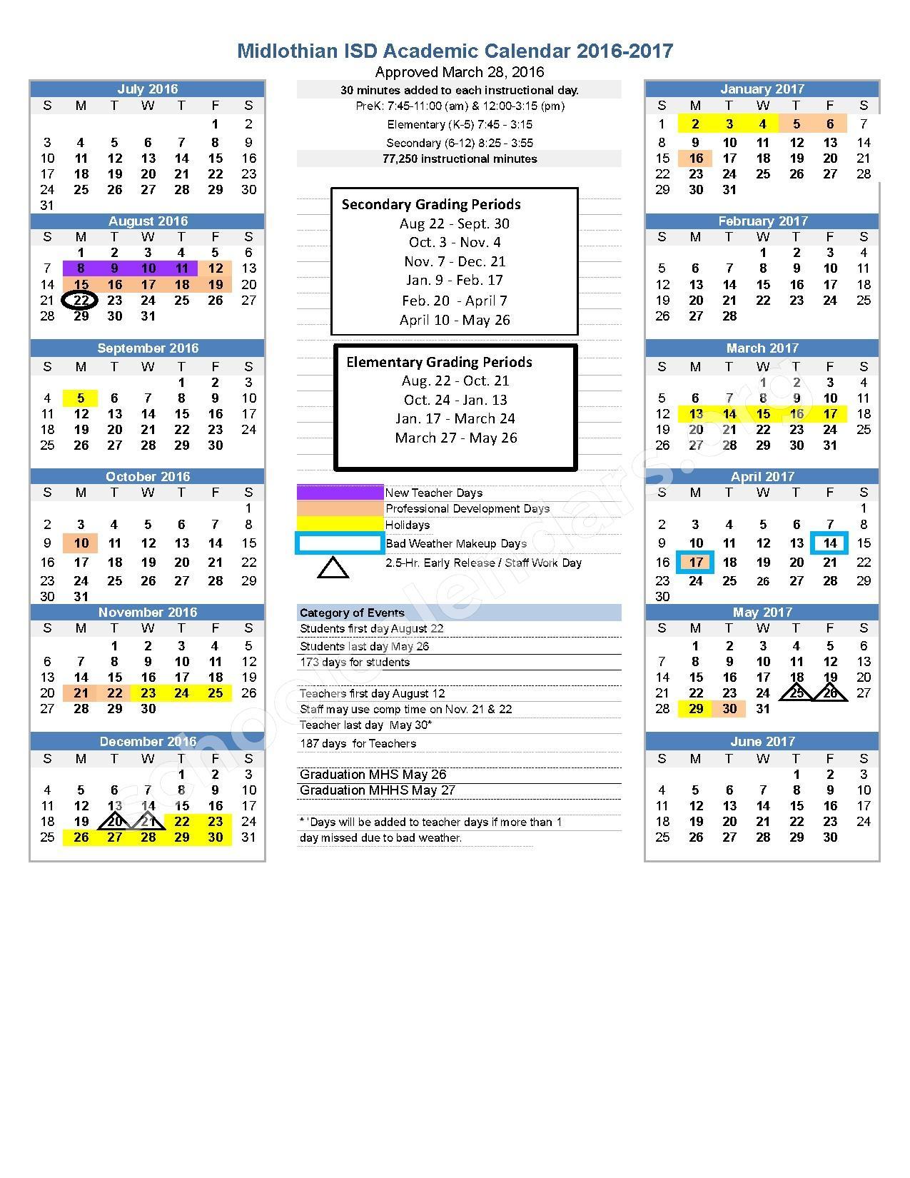 2016 - 2017 District Calendar – Mt Peak Elementary School – page 1