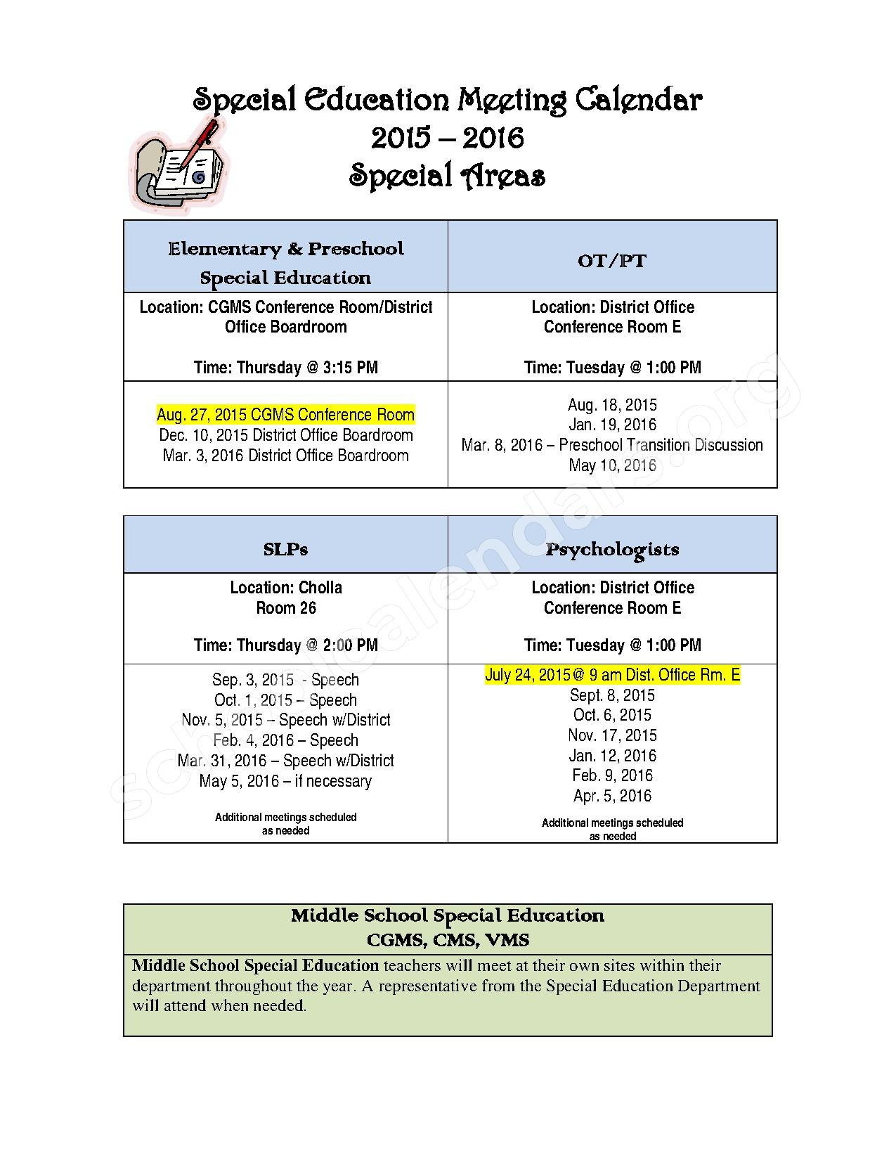 Special Education Meeting Calendar – Early Childhood Learning Center – page 1