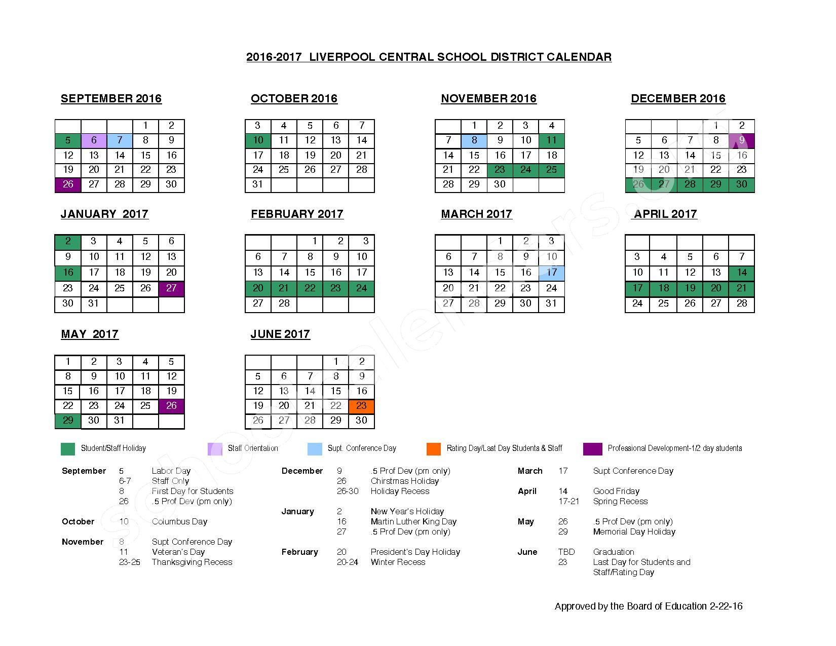 2016  -2017 School Calendar – Liverpool Central School District – page 1