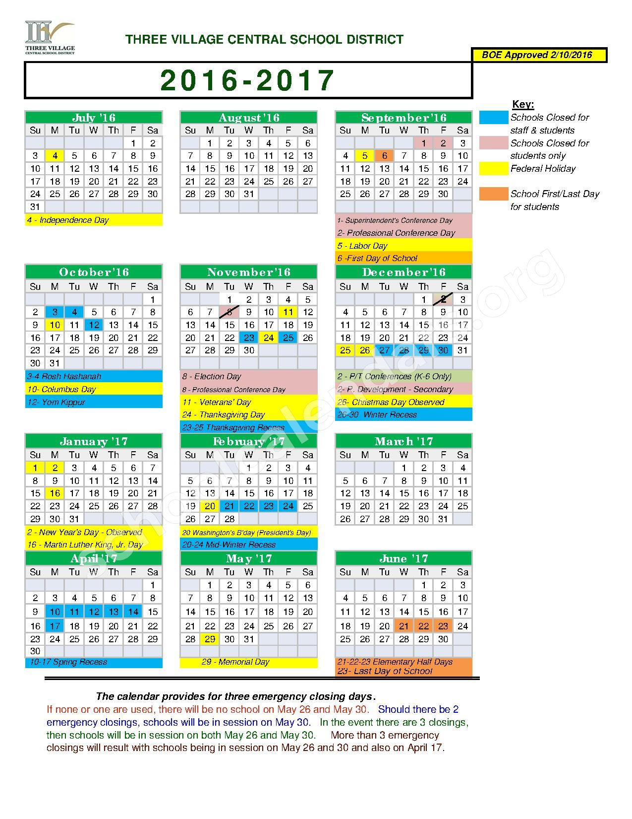 2016 - 2017 Academic Calendar – Three Village Central School District – page 1