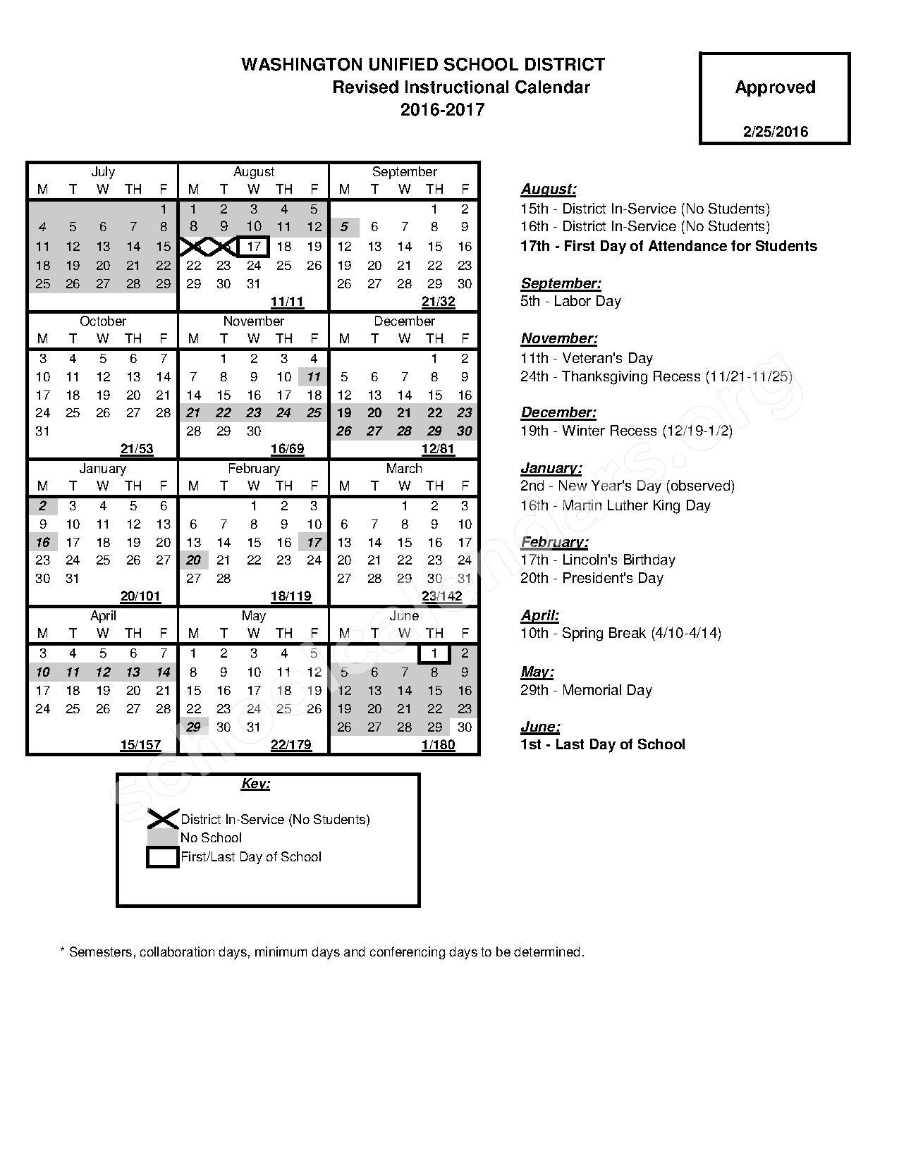 2016 - 2017 School Calendar – Washington Unified School District – page 1