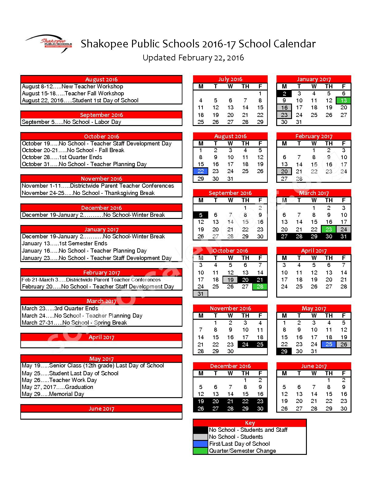 2016 - 2017 District Calendar – Shakopee Middle School – page 1