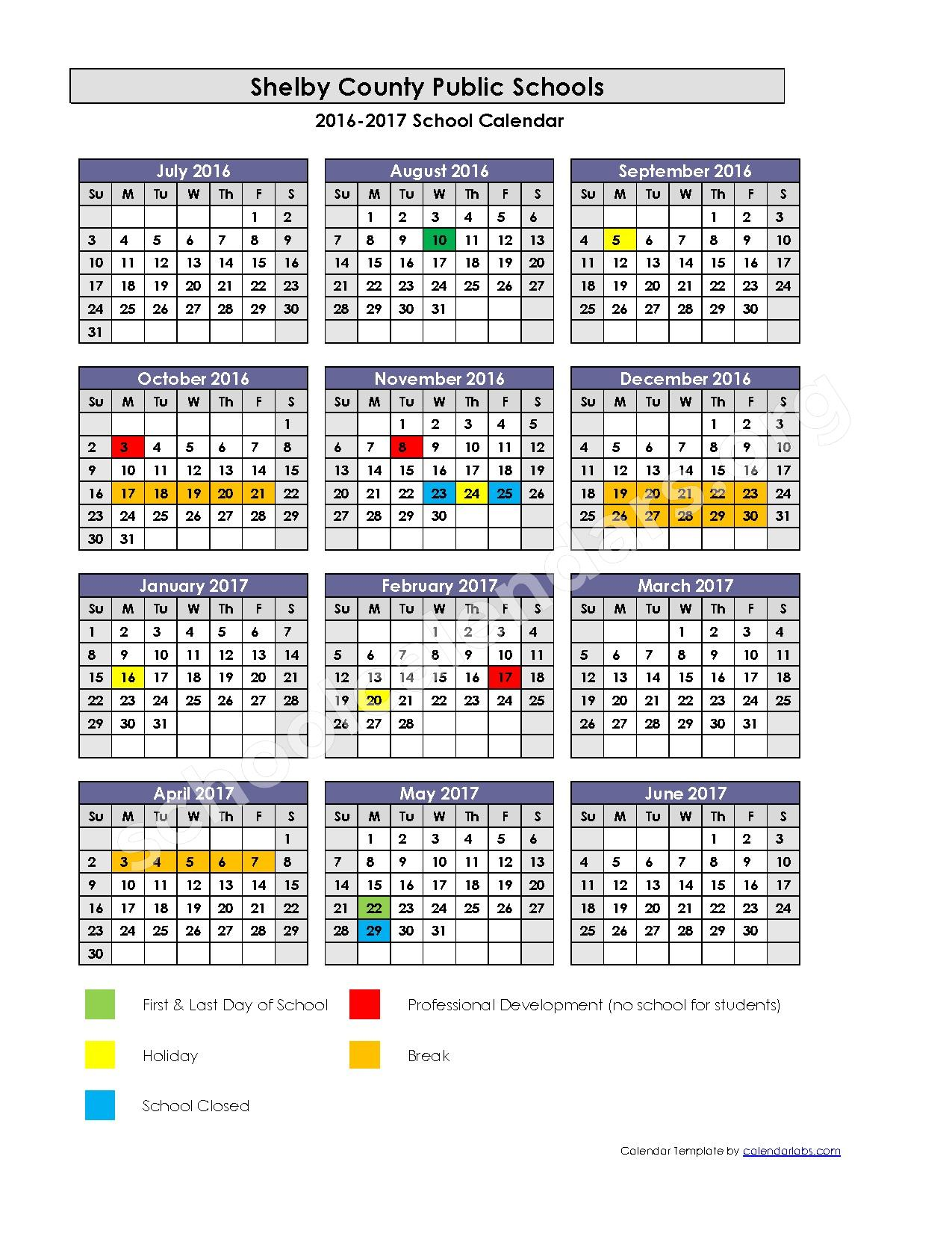 2016 - 2017 Academic Calendar – Shelby County School District – page 1