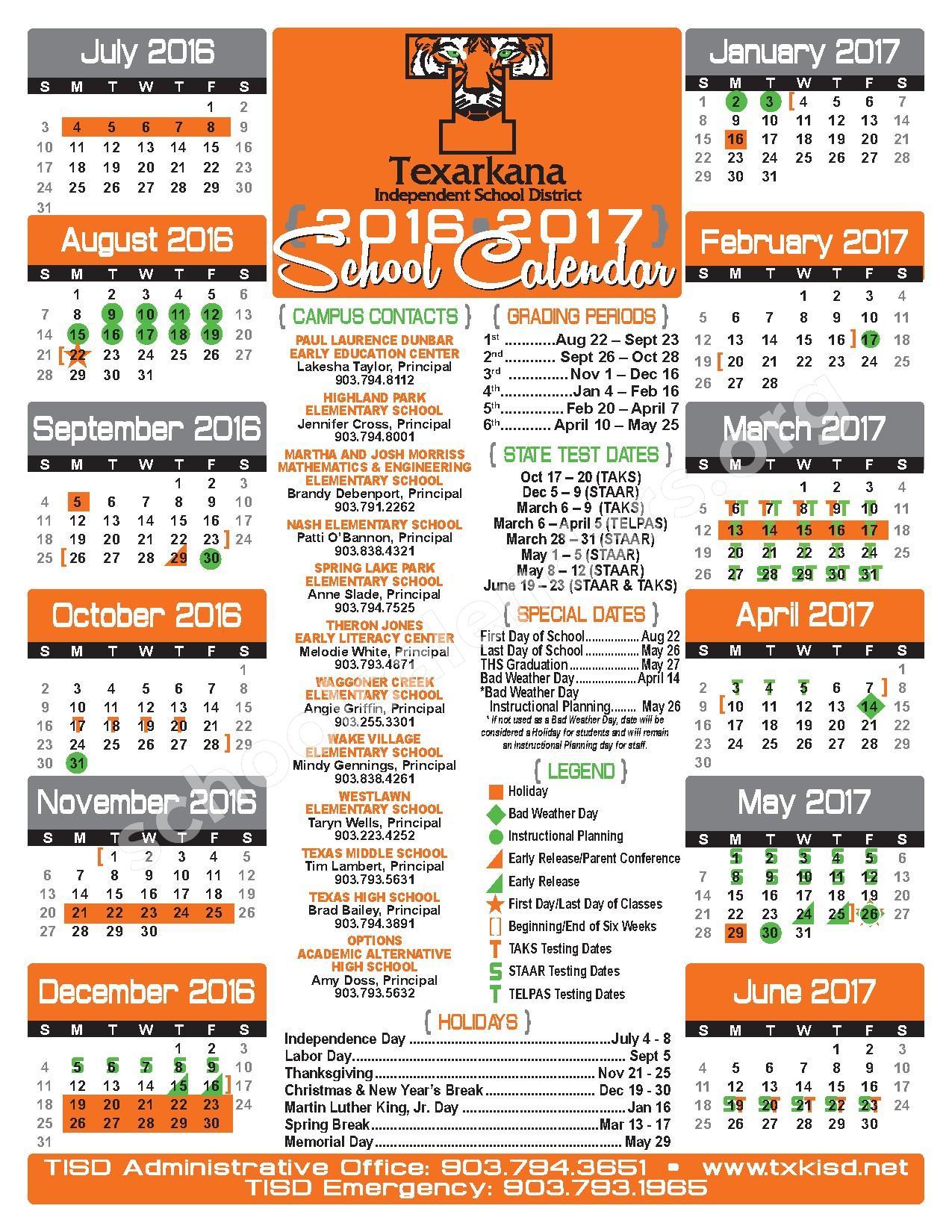 2016 - 2017 School Calendar – Texarkana Independent School District – page 1
