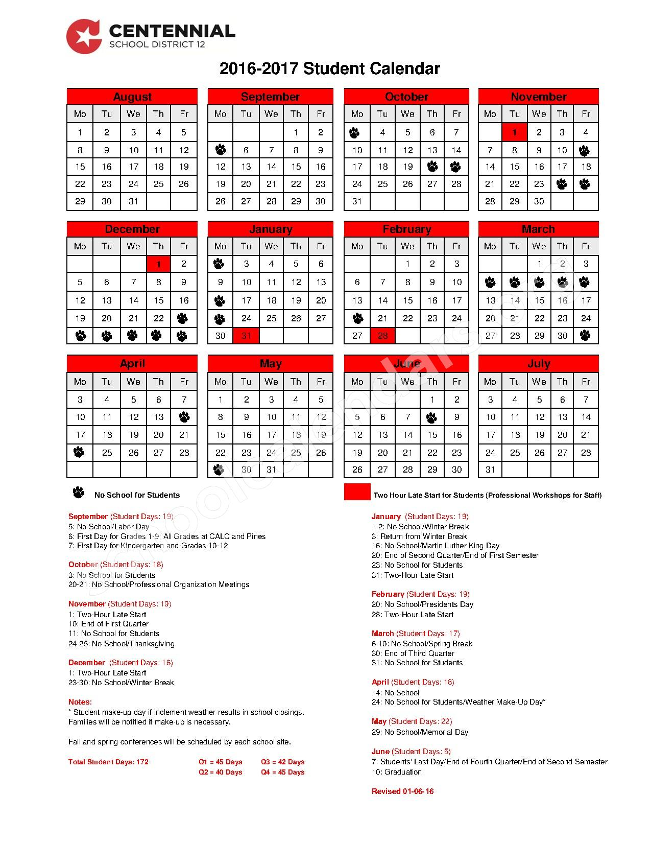 2016 - 2017 Student Calendar – Centennial Area Learning Center – page 1
