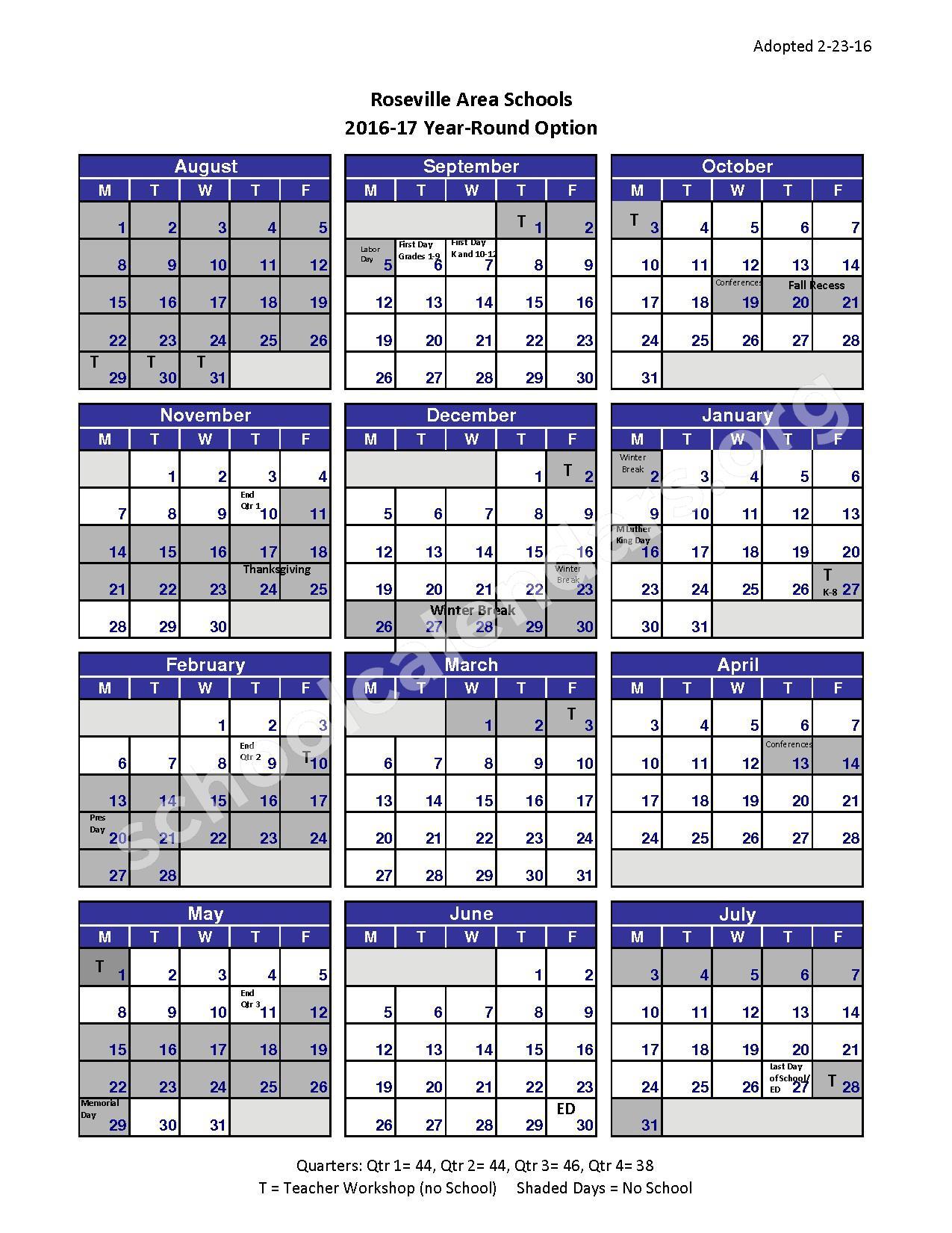 2016-2017 School Calendar – Roseville Public School District – page 1