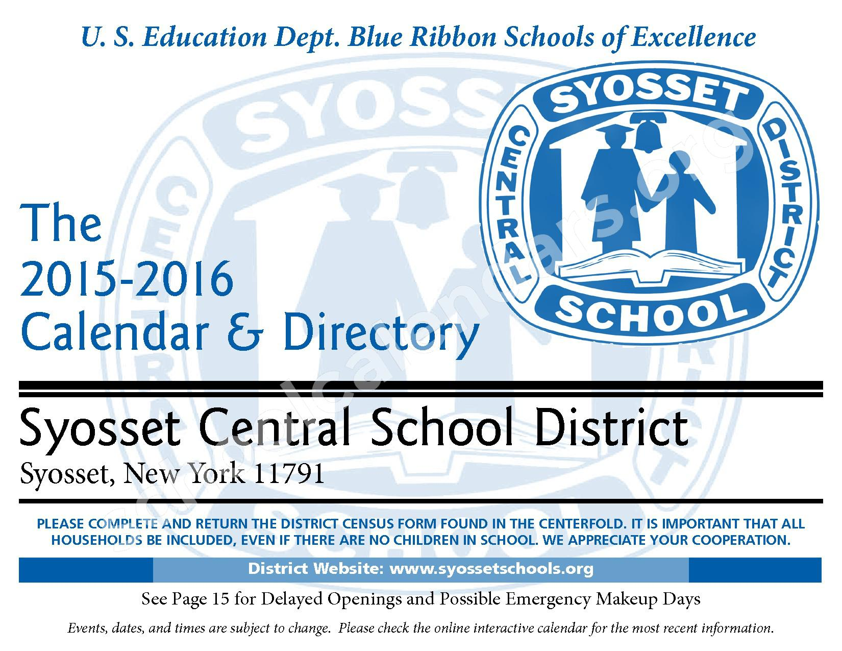 2015 - 2016 District Calendar – Syosset Central School District – page 1