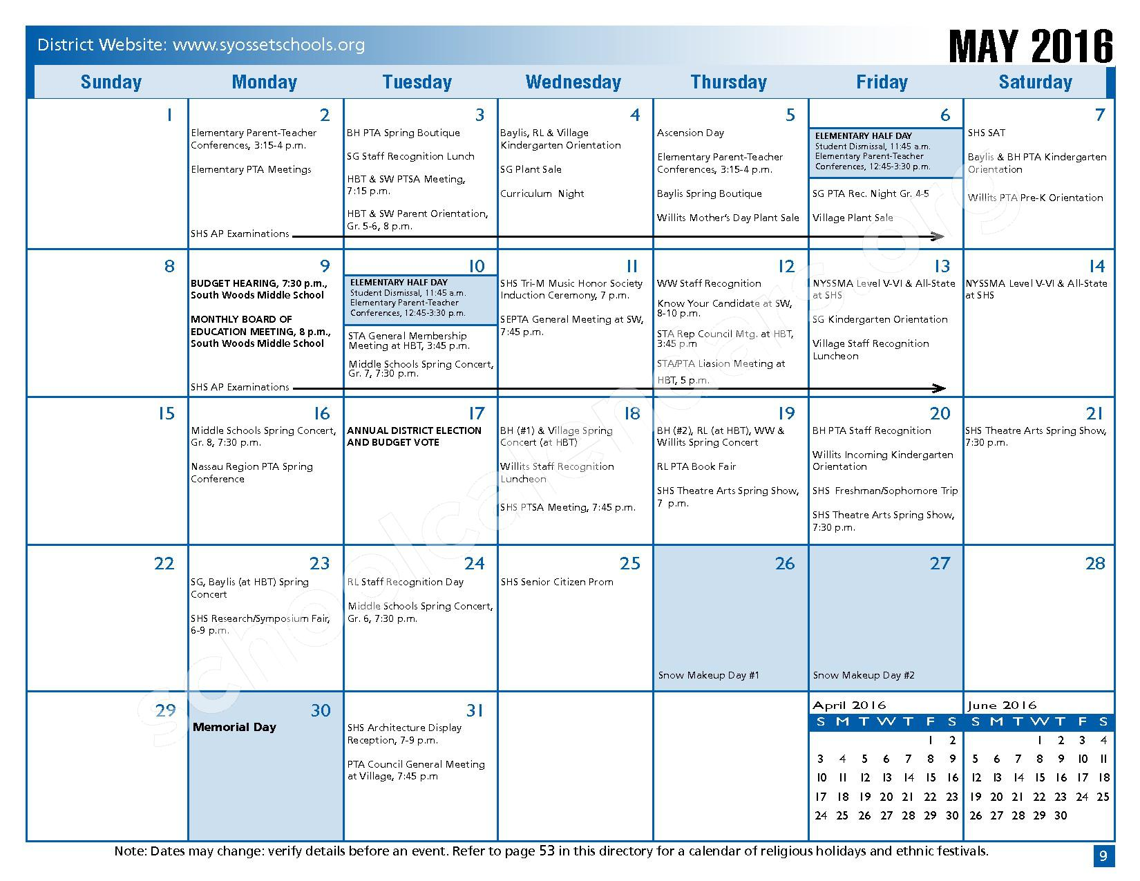2015 - 2016 District Calendar – Syosset Central School District – page 11