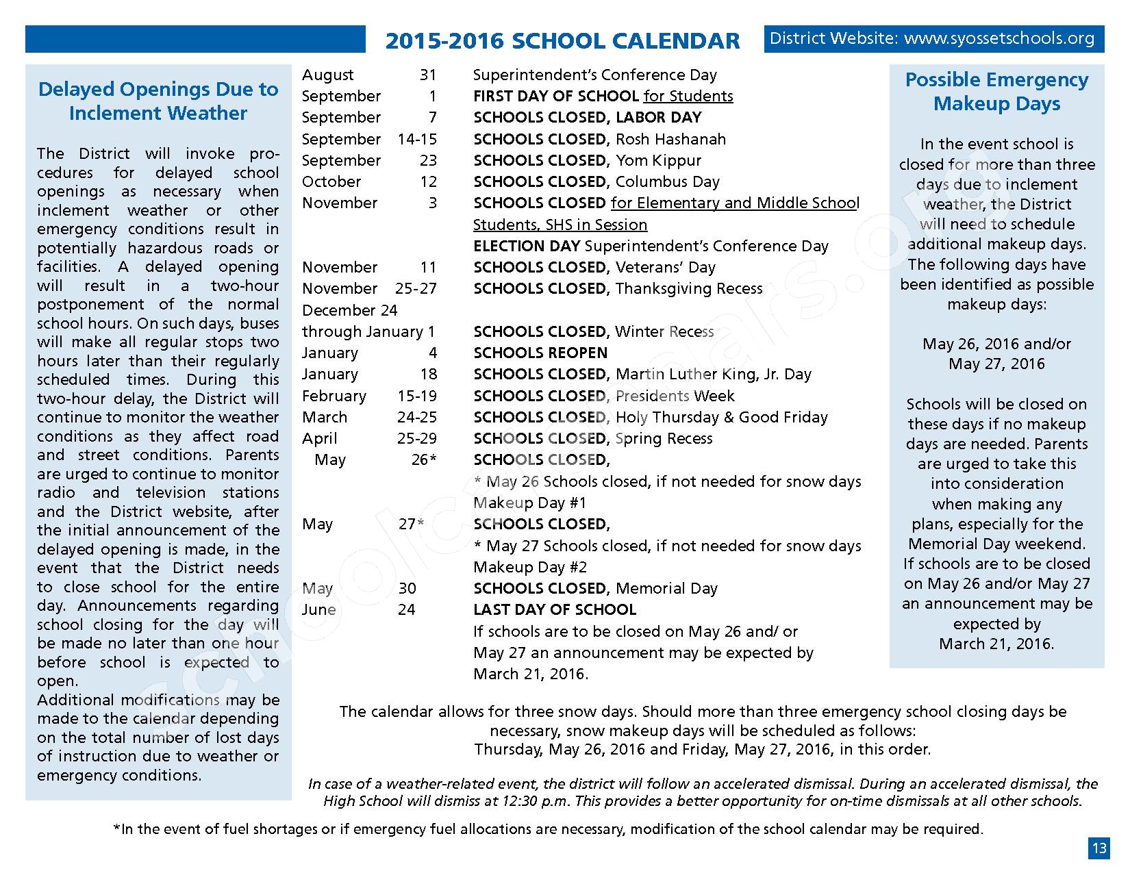 2015 - 2016 District Calendar – Syosset Central School District – page 15