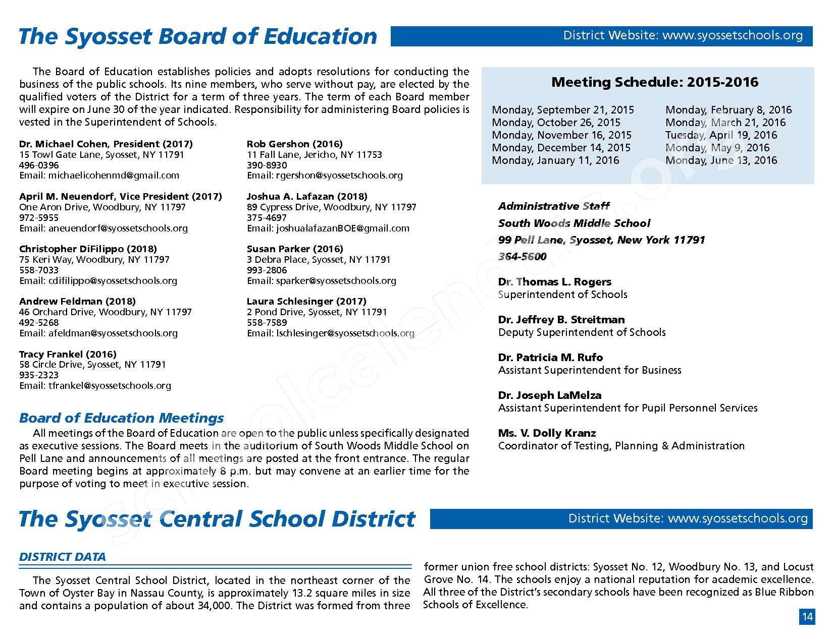 2015 - 2016 District Calendar – Syosset Central School District – page 16