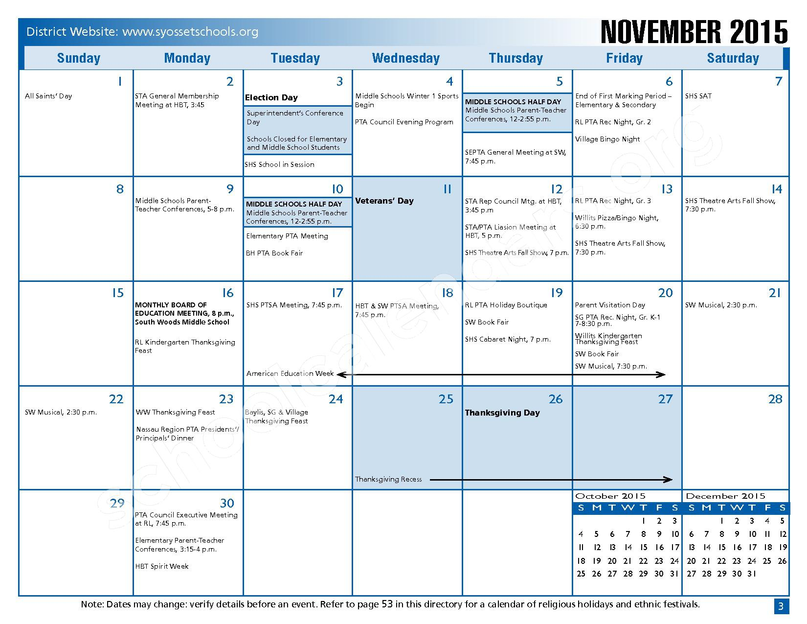 2015 - 2016 District Calendar – Syosset Central School District – page 5