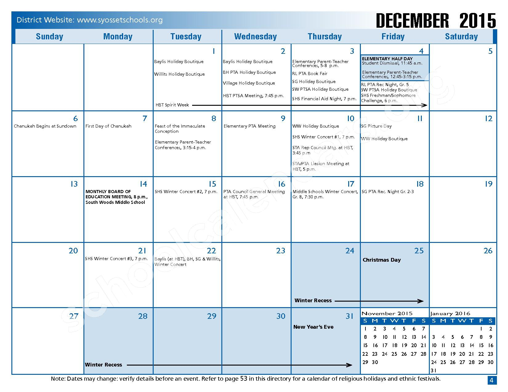 2015 - 2016 District Calendar – Syosset Central School District – page 6