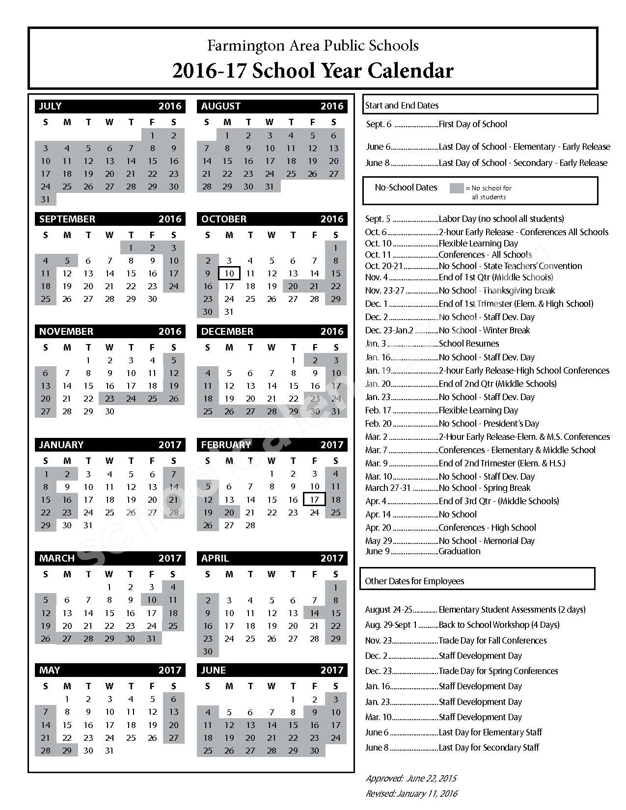 2016 - 2017 District Calendar – Farmington Public School District – page 1