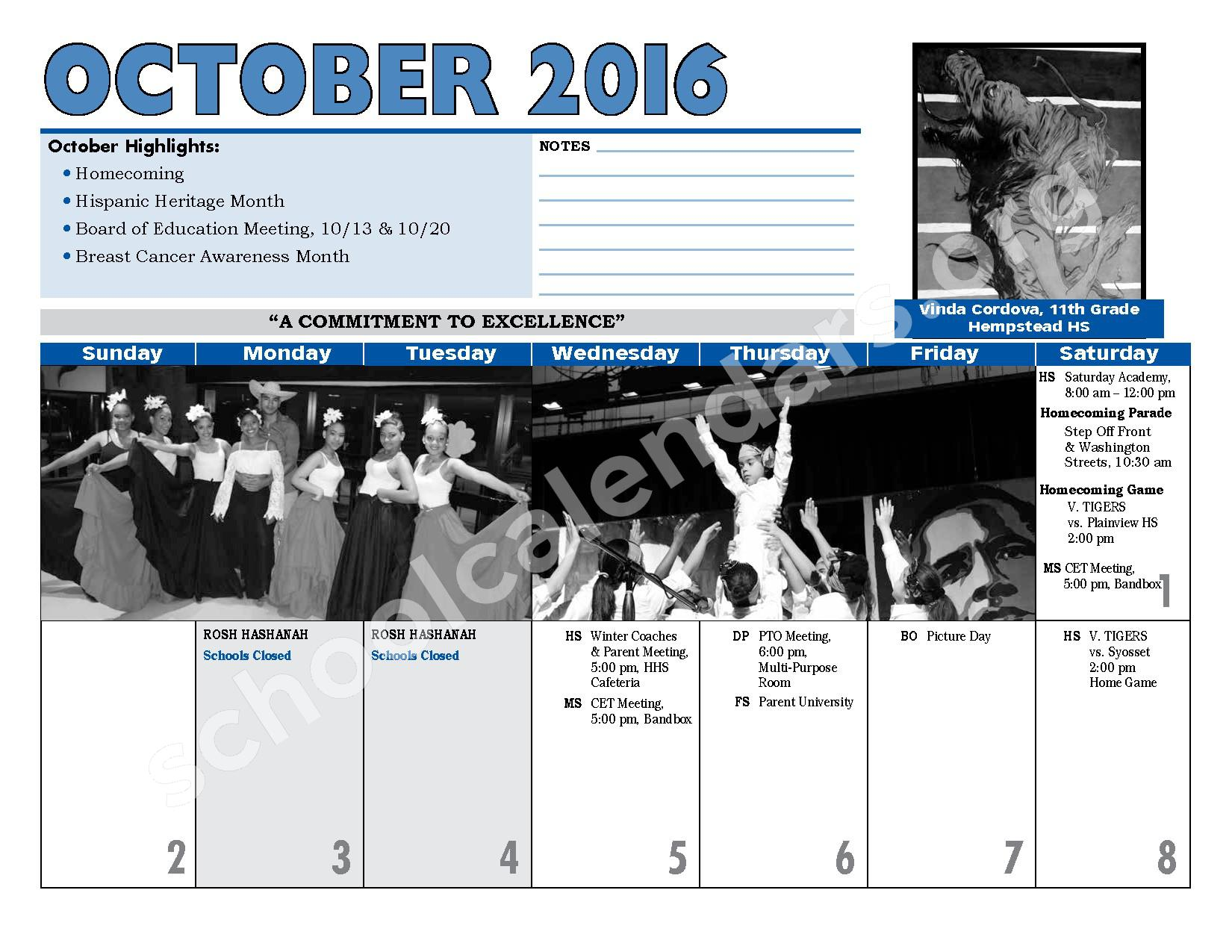 2016 - 2017 District Calendar – Hempstead Union Free School District – page 10