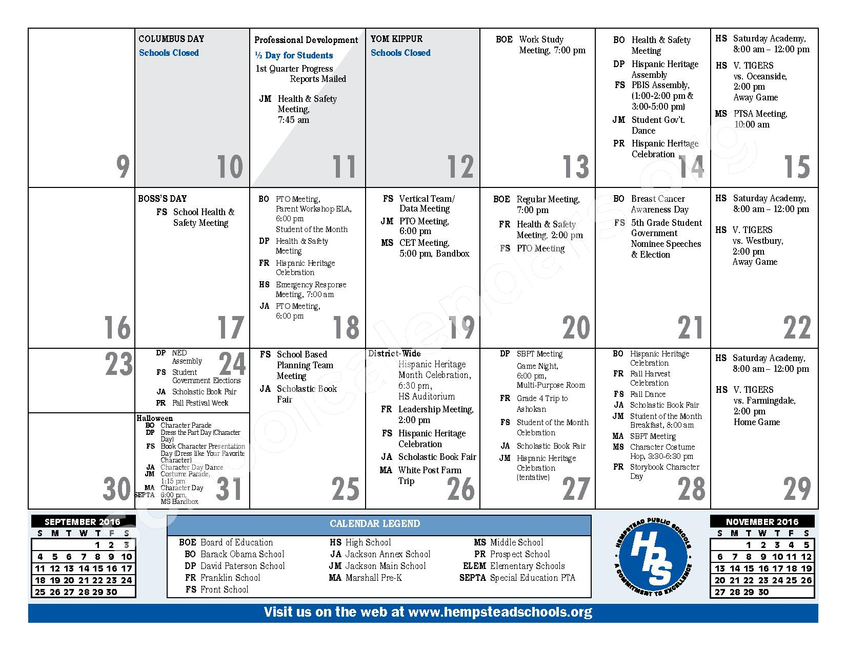 2016 - 2017 District Calendar – Hempstead Union Free School District – page 11