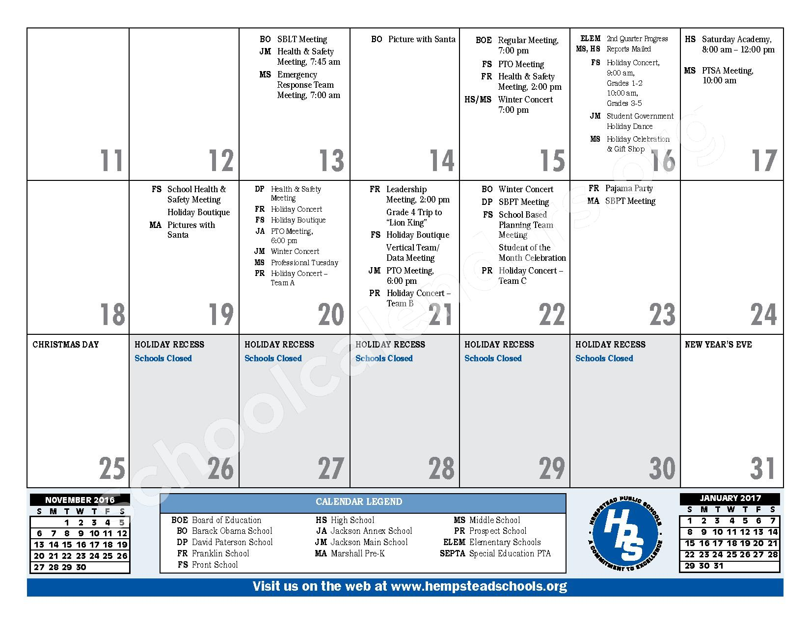 2016 - 2017 District Calendar – Hempstead Union Free School District – page 15