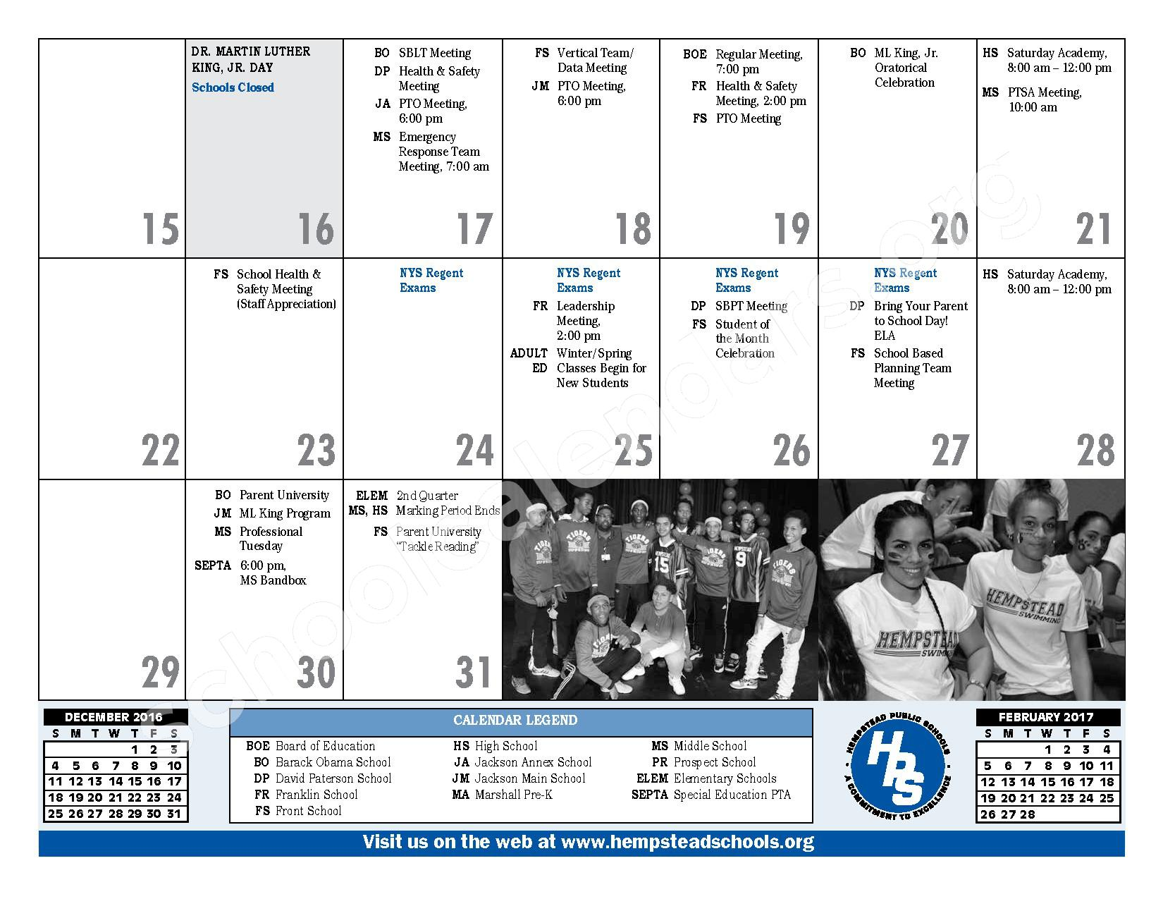 2016 - 2017 District Calendar – Hempstead Union Free School District – page 17