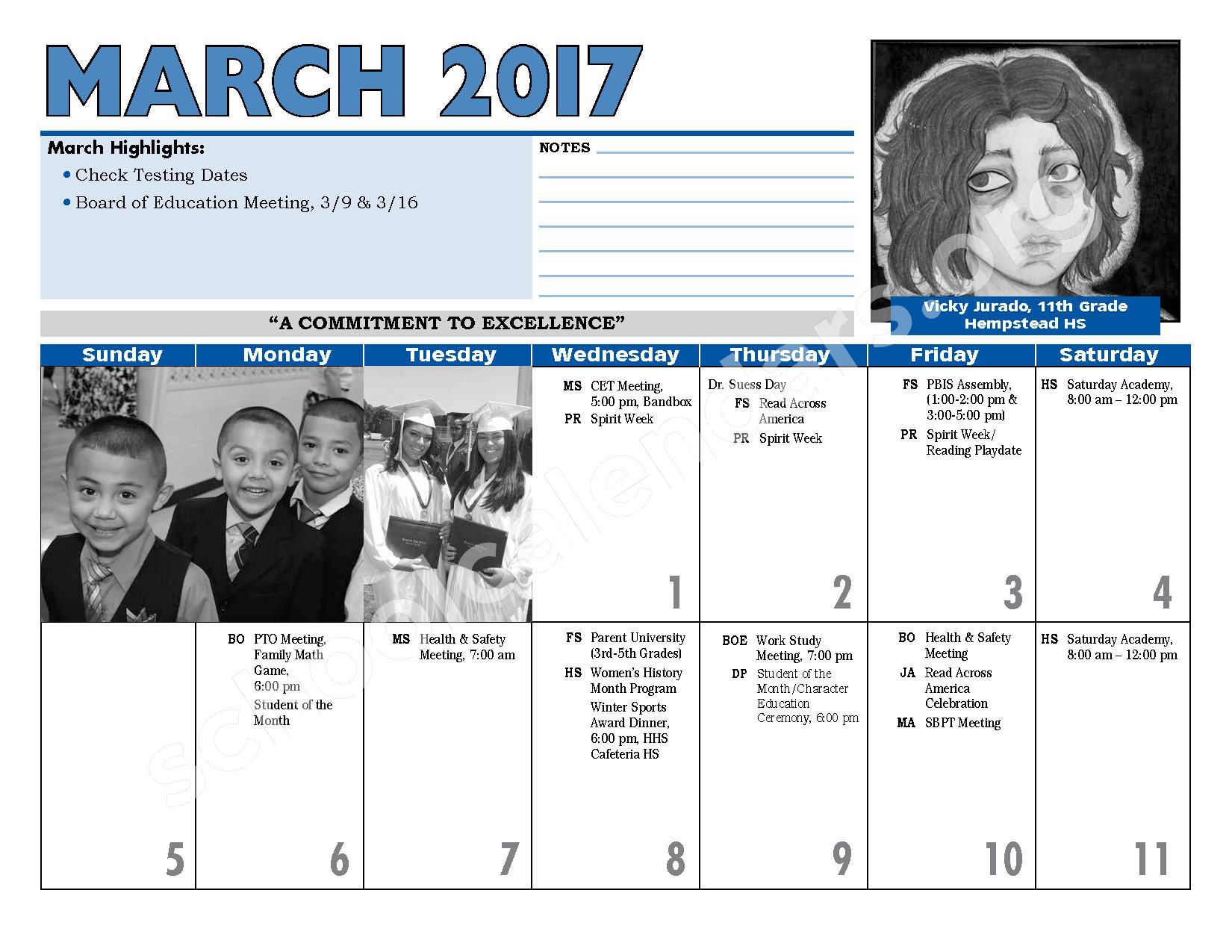 2016 - 2017 District Calendar – Hempstead Union Free School District – page 20