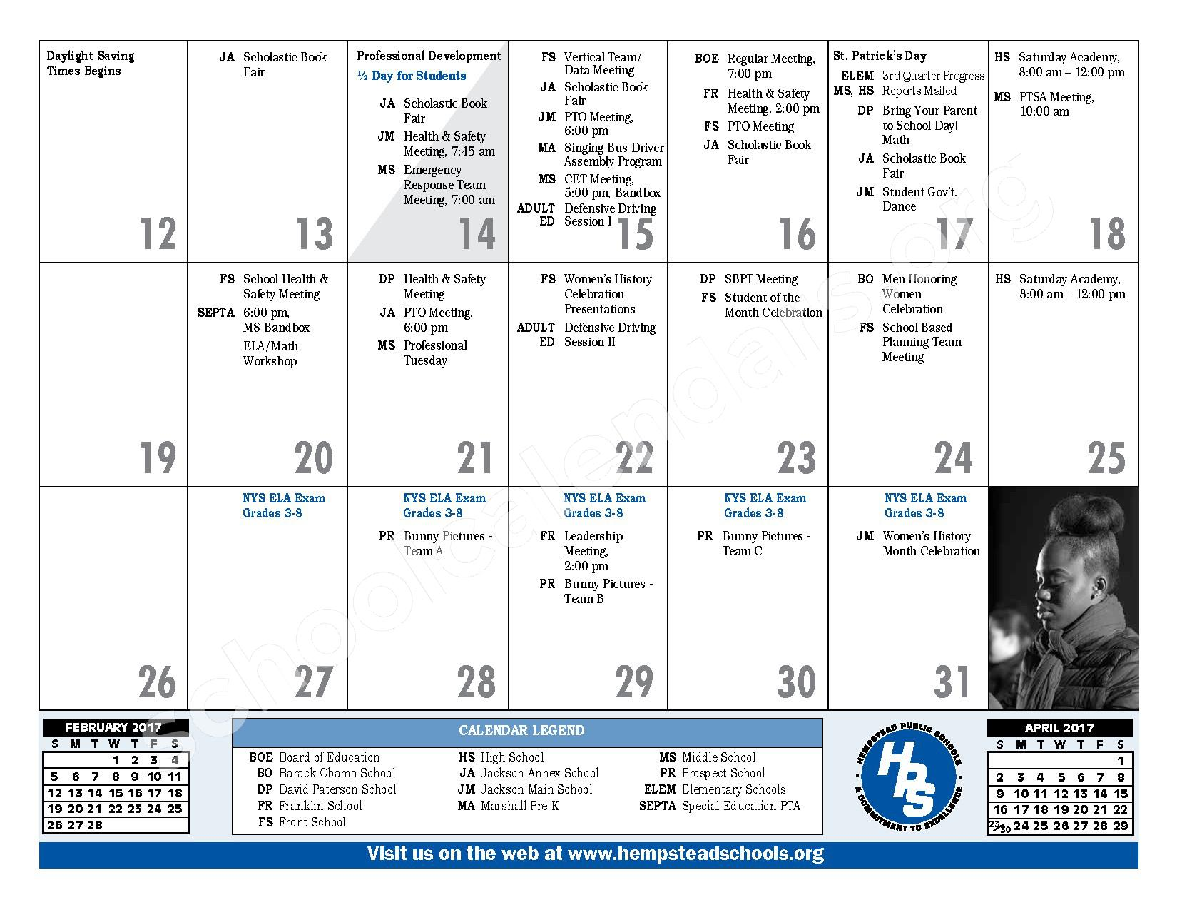 2016 - 2017 District Calendar – Hempstead Union Free School District – page 21