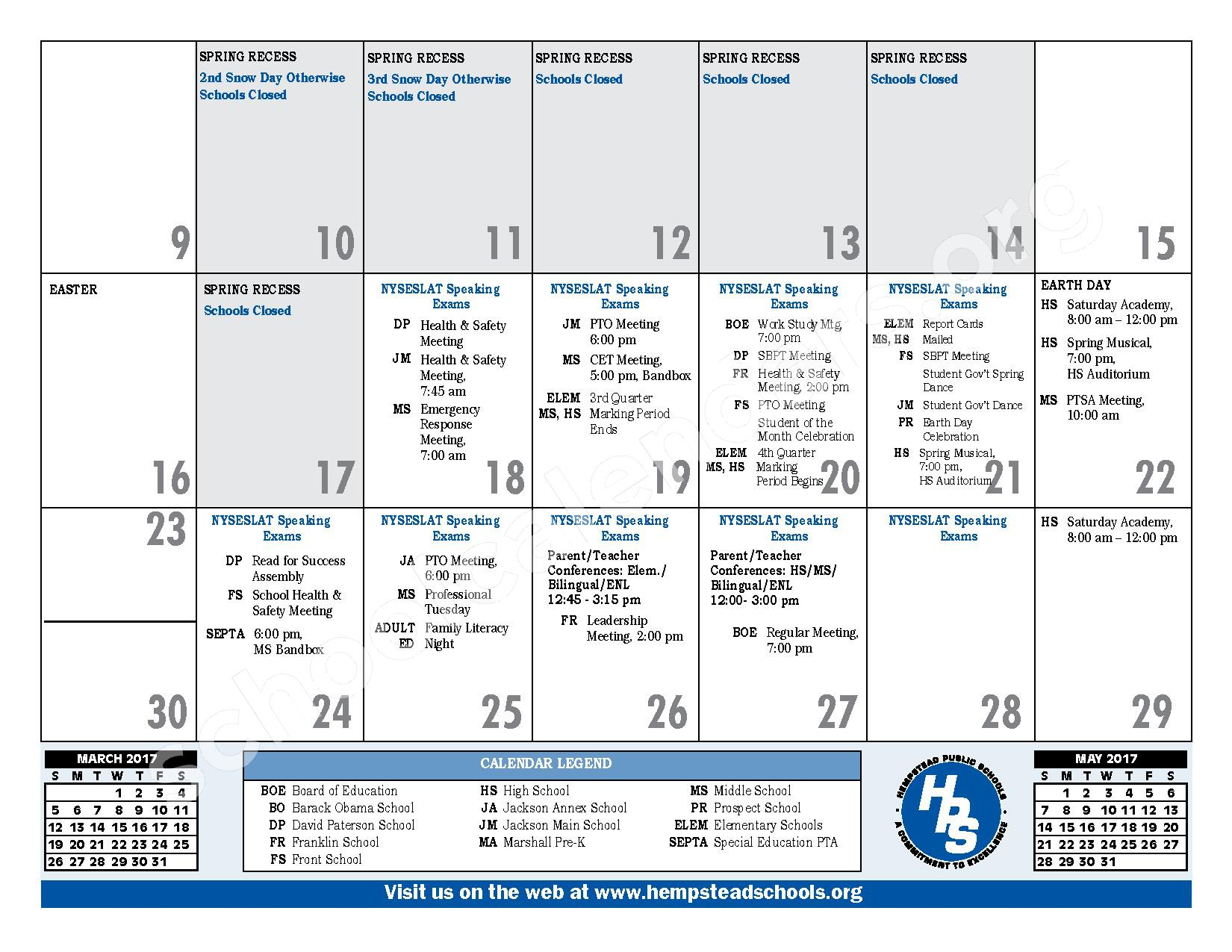 2016 - 2017 District Calendar – Hempstead Union Free School District – page 23
