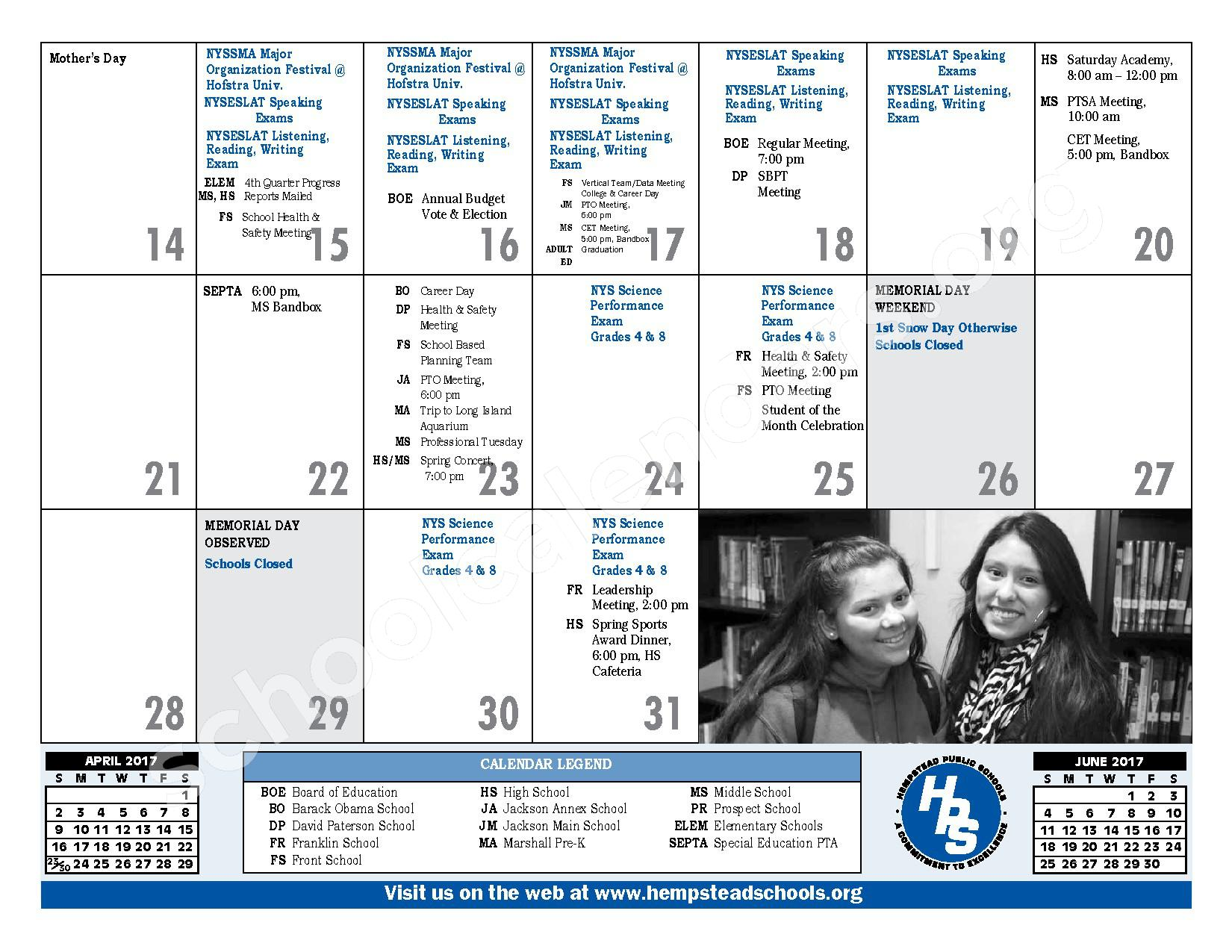 2016 - 2017 District Calendar – Hempstead Union Free School District – page 25