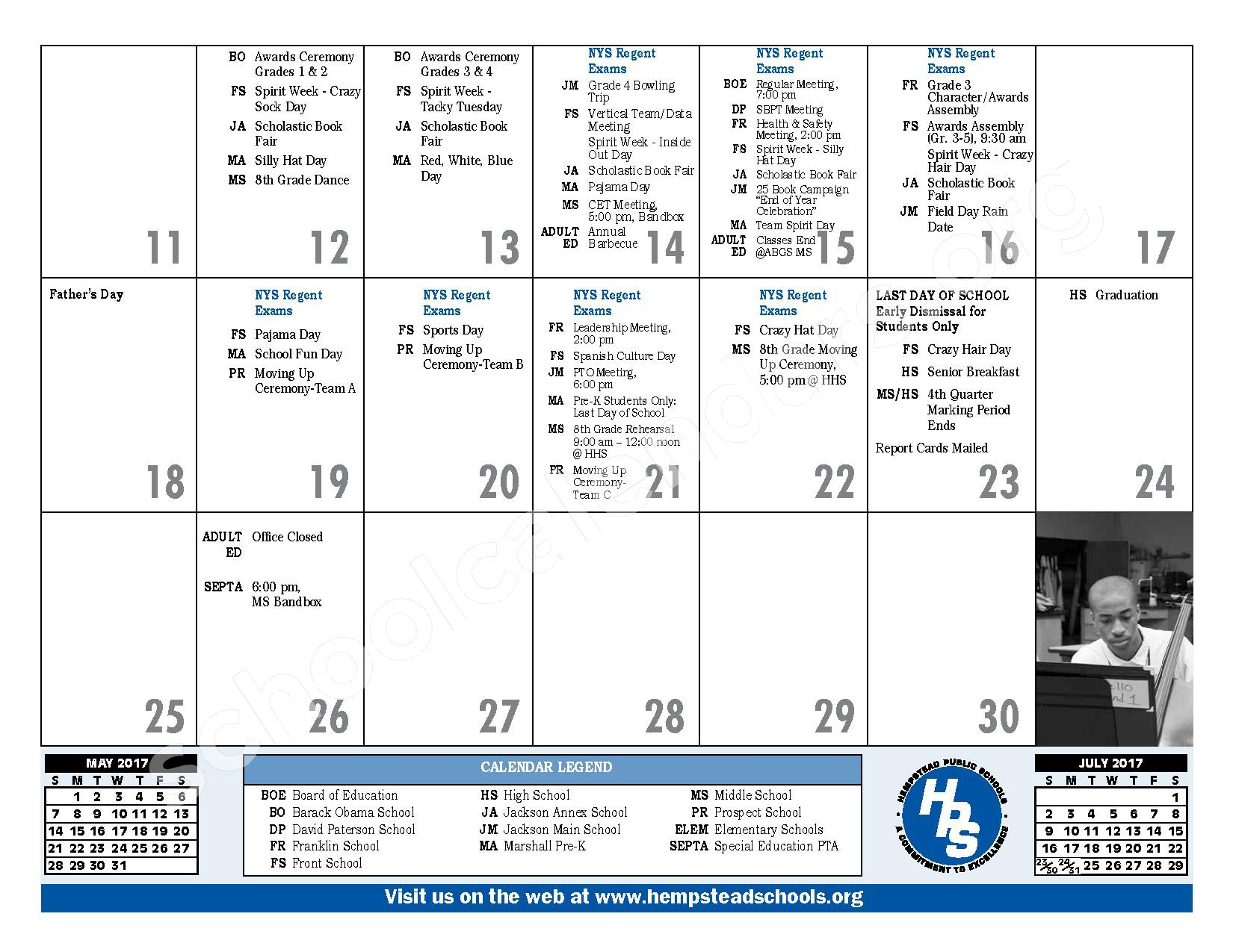 2016 - 2017 District Calendar – Hempstead Union Free School District – page 27