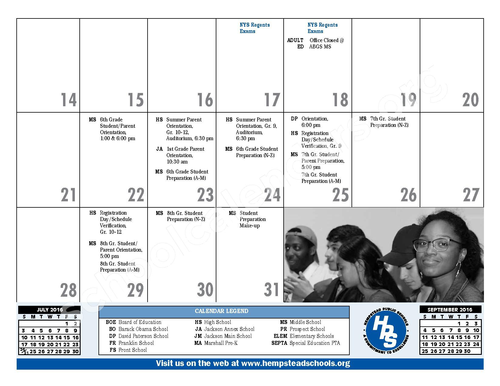 2016 - 2017 District Calendar – Hempstead Union Free School District – page 7