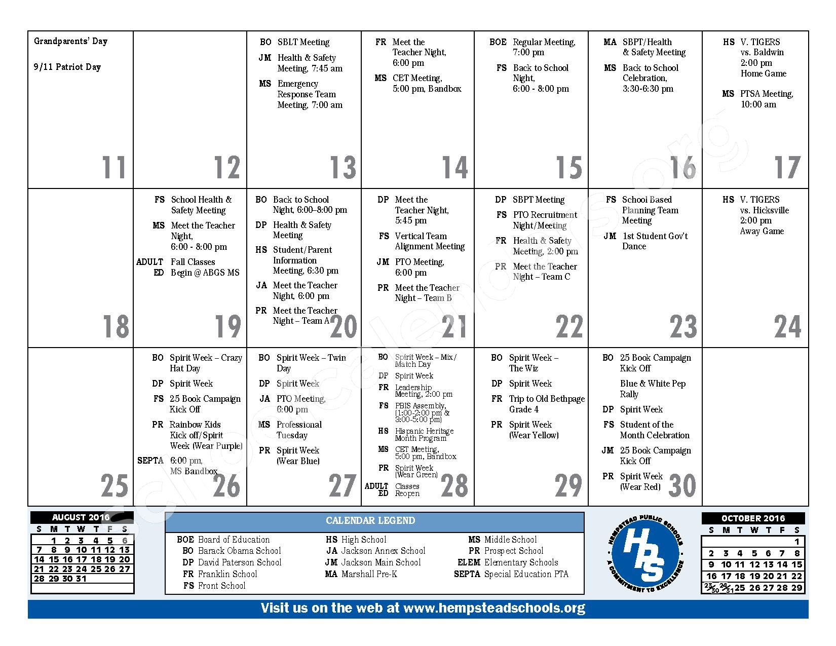 2016 - 2017 District Calendar – Hempstead Union Free School District – page 9