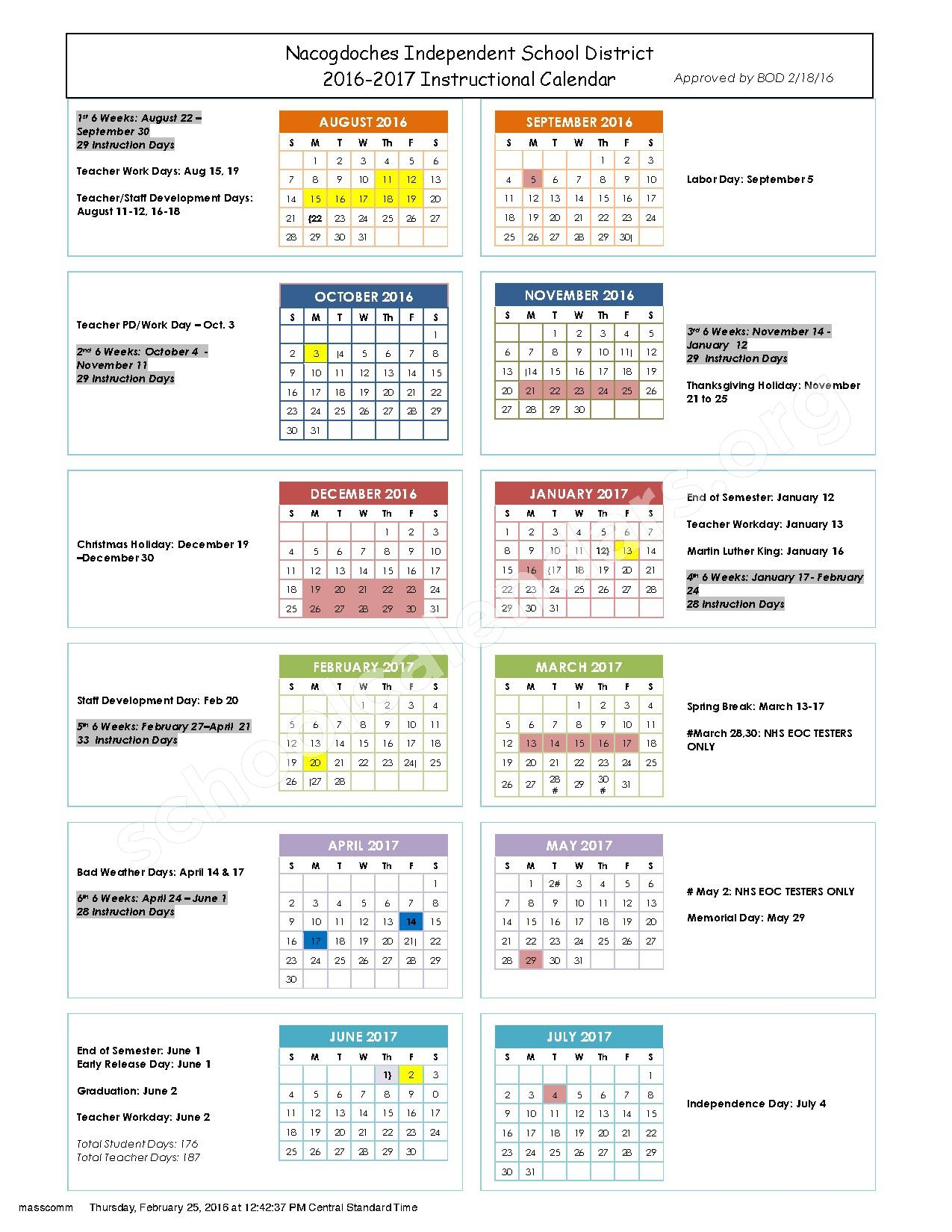 2016 - 2017 School Calendar – Brooks-Quinn-Jones Elementary School – page 1