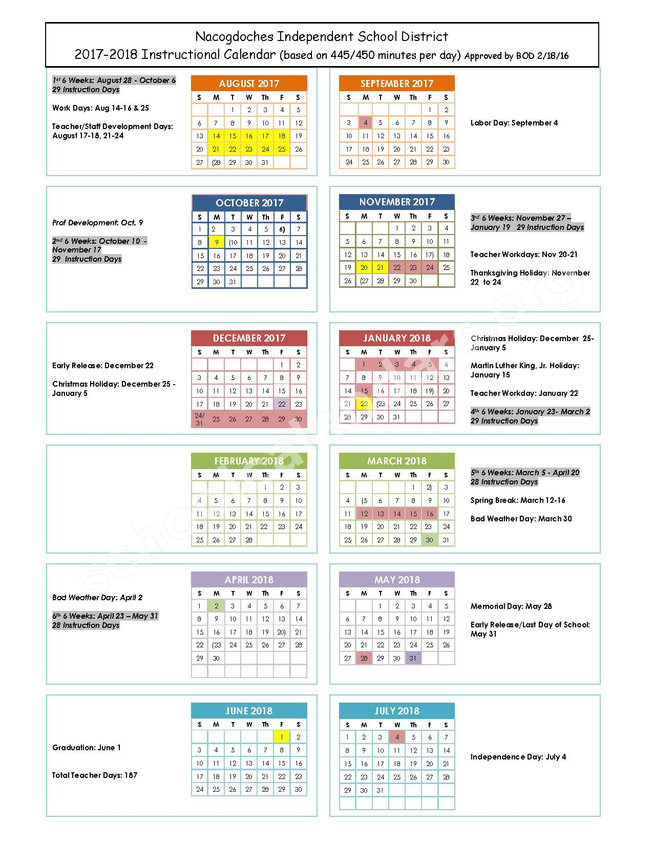 2017 - 2018 School Calendar – Nacogdoches Independent School District – page 1