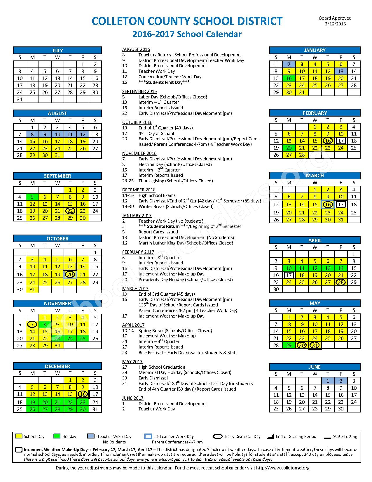 2016 - 2017 District Calendar – Colleton County School District  – page 1