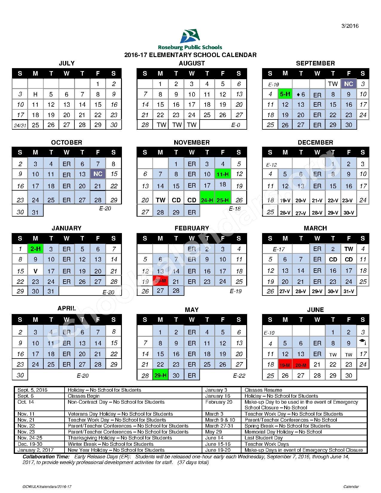 2016 - 2017 Elementary Calendar – Roseburg Public Schools – page 1