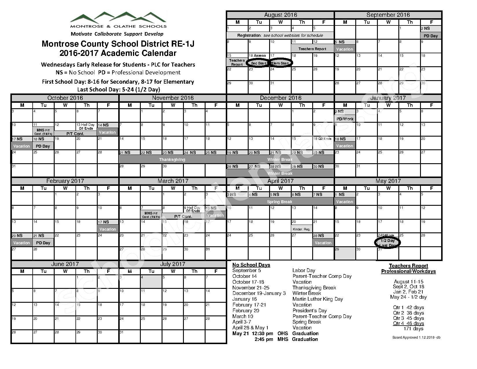 2016 - 2017 School District Calendar – Montrose & Olathe Schools – page 1