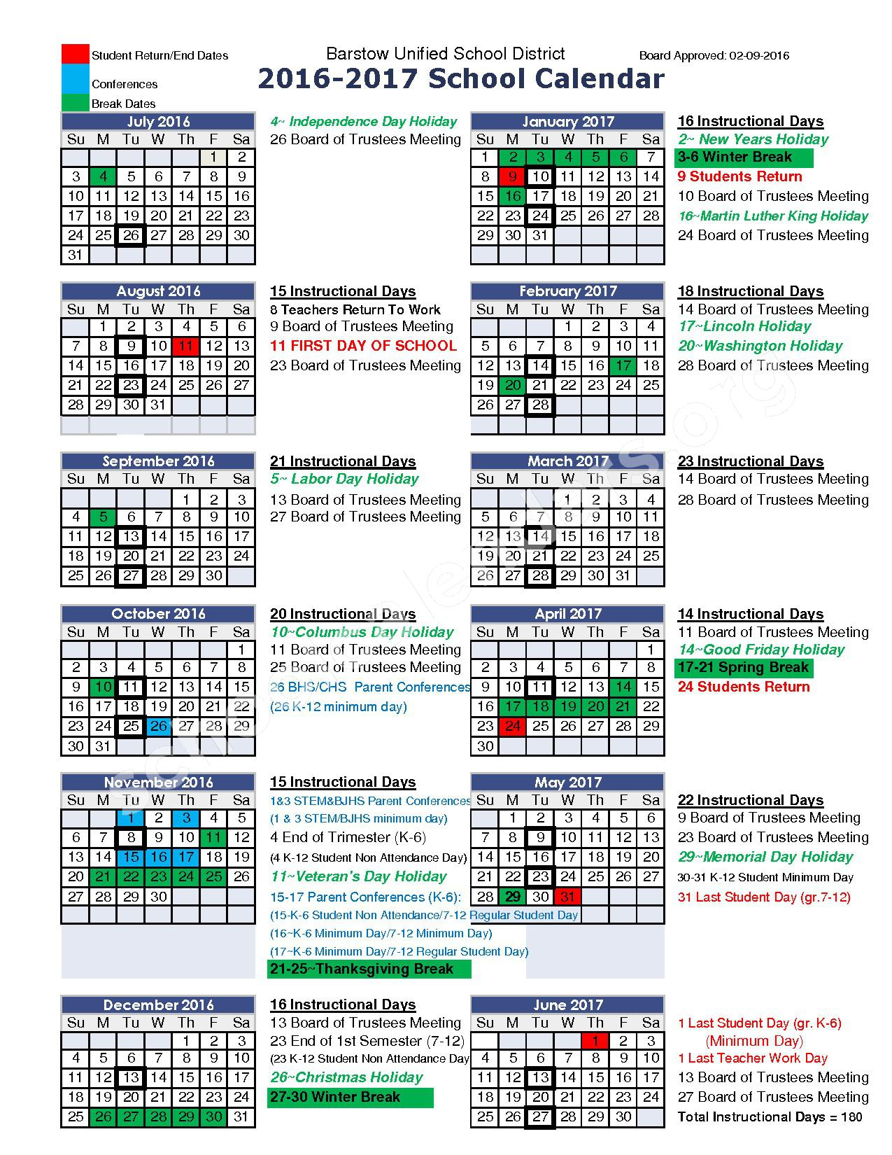 2016-2017 School Calendar – Barstow Unified School District – page 1