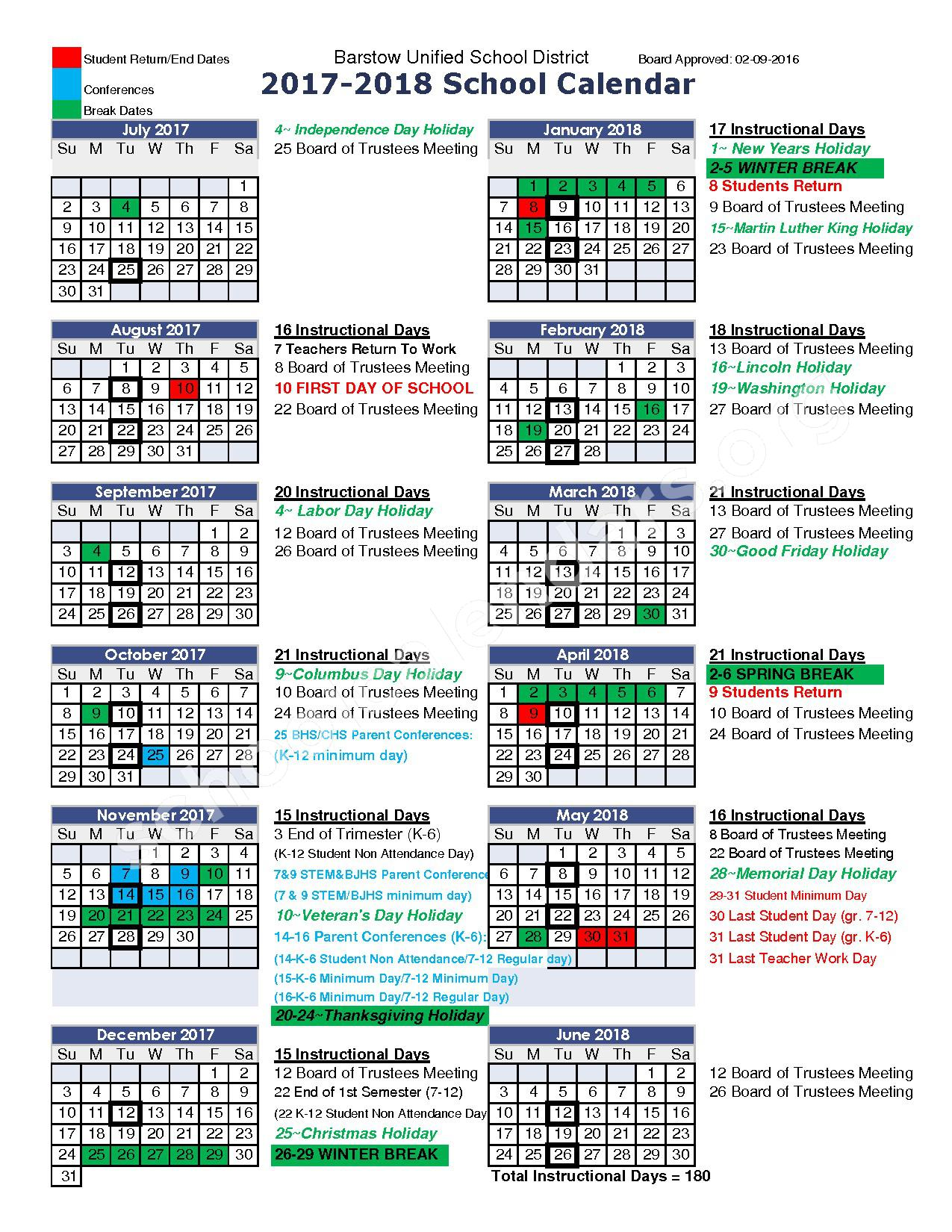 2017-2018 School Calendar – Barstow Unified School District – page 1