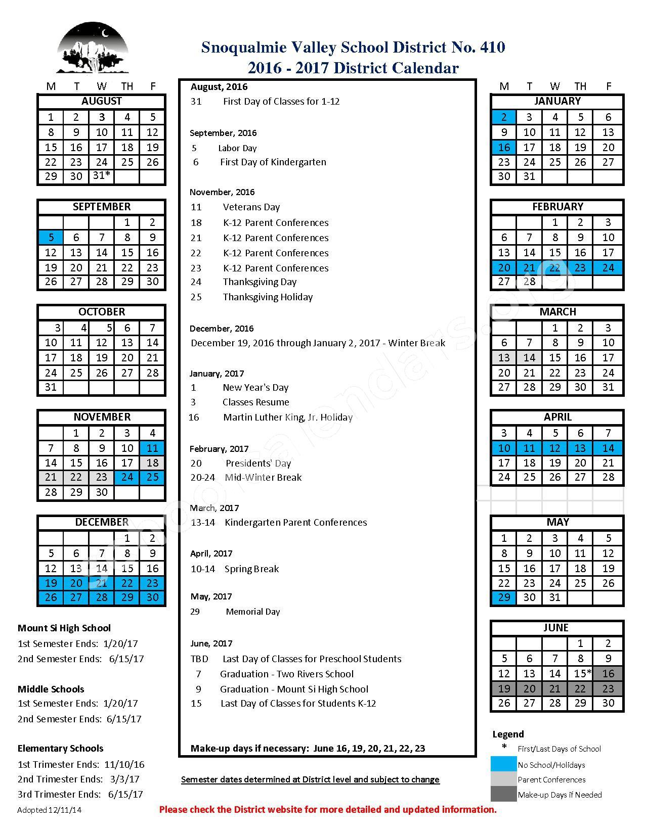 2016-2017 District Calendar – Snoqualmie Valley School District – page 1