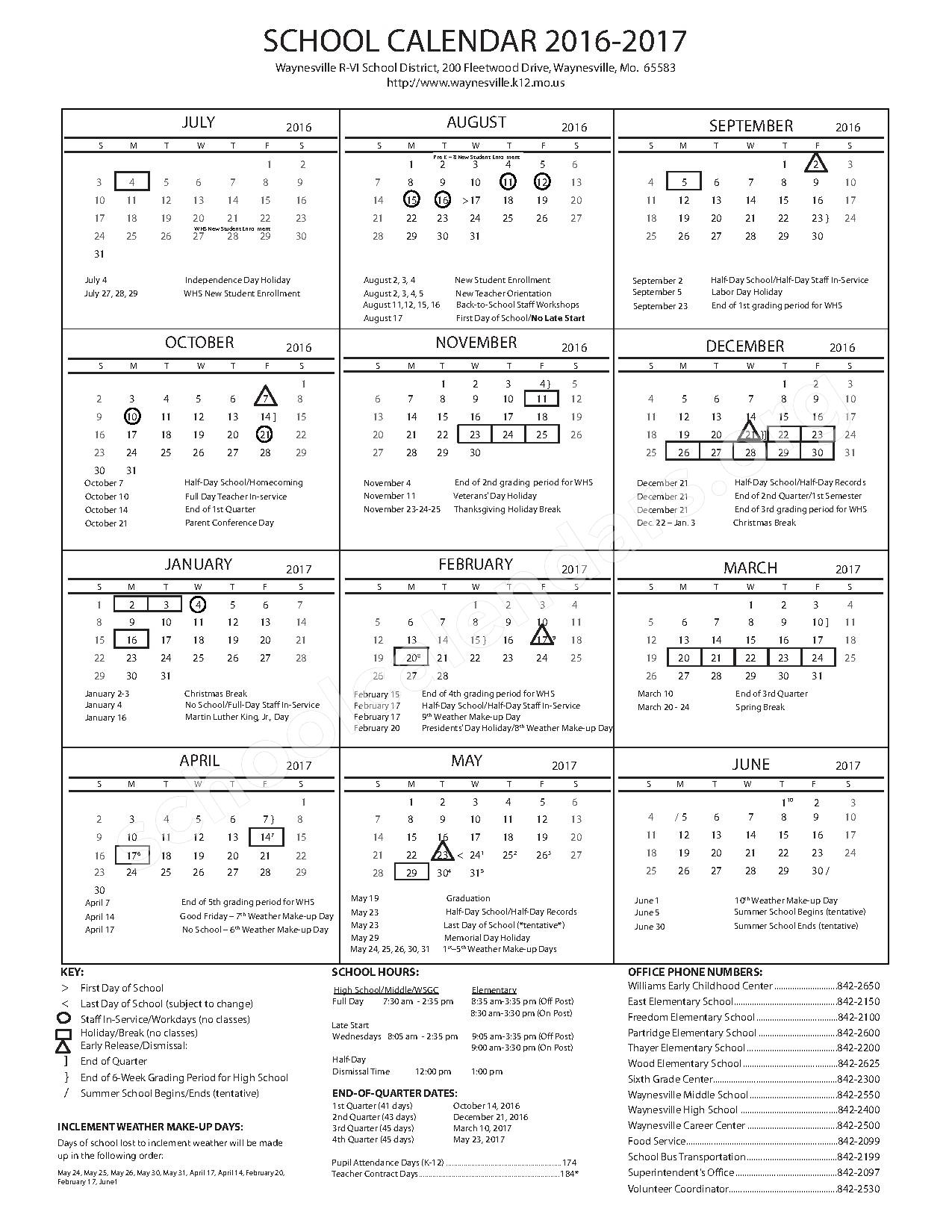 2016 - 2017 School Calendar – Waynesville R-VI School District – page 1