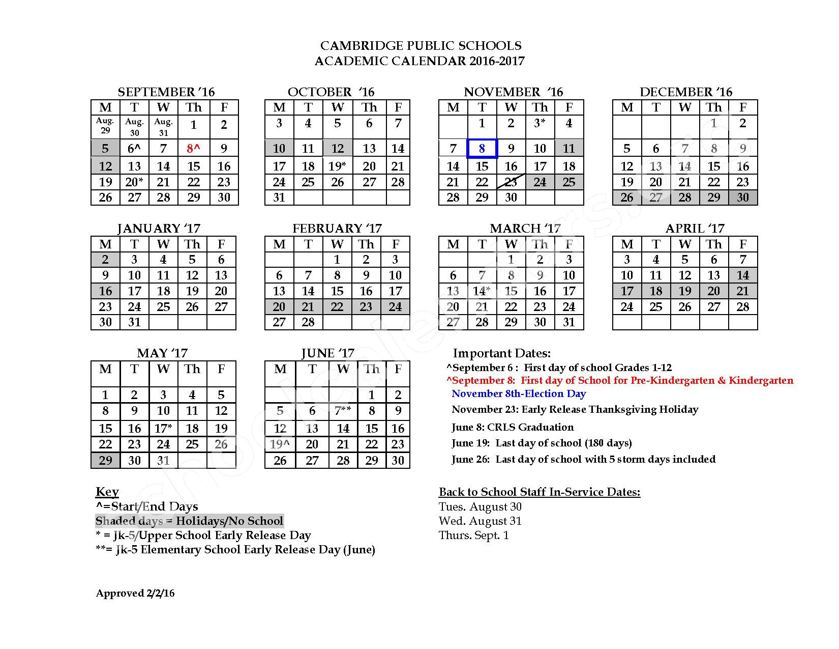 2016-17 District Calendar – Morse – page 1