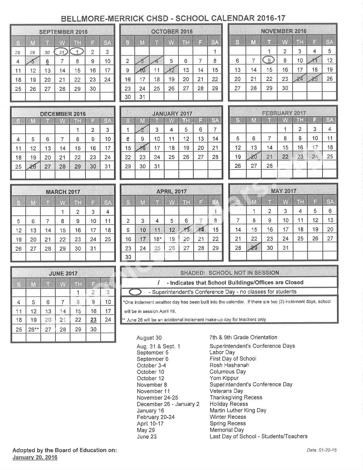 2016 - 2017 District Calendar – Wellington C Mepham High School – page 1