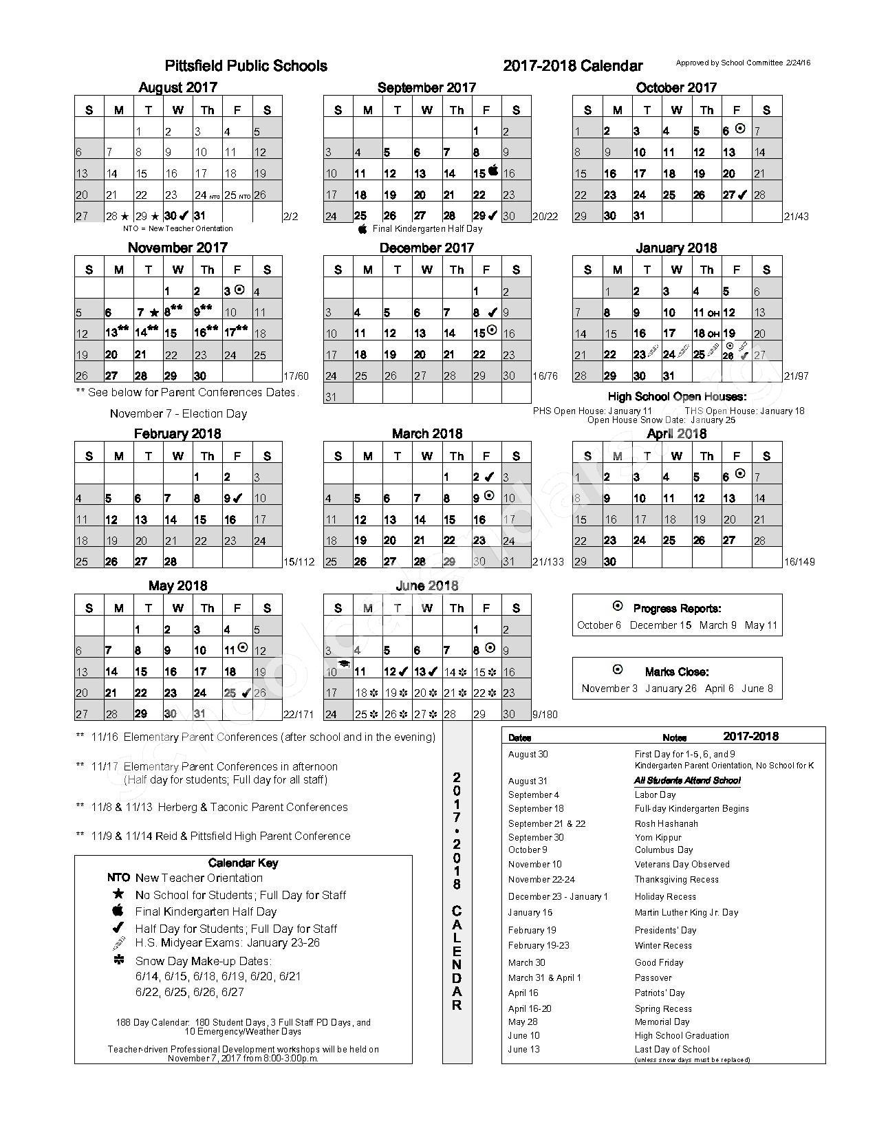 2017 - 2018 Calendar – Pittsfield Public Schools – page 1