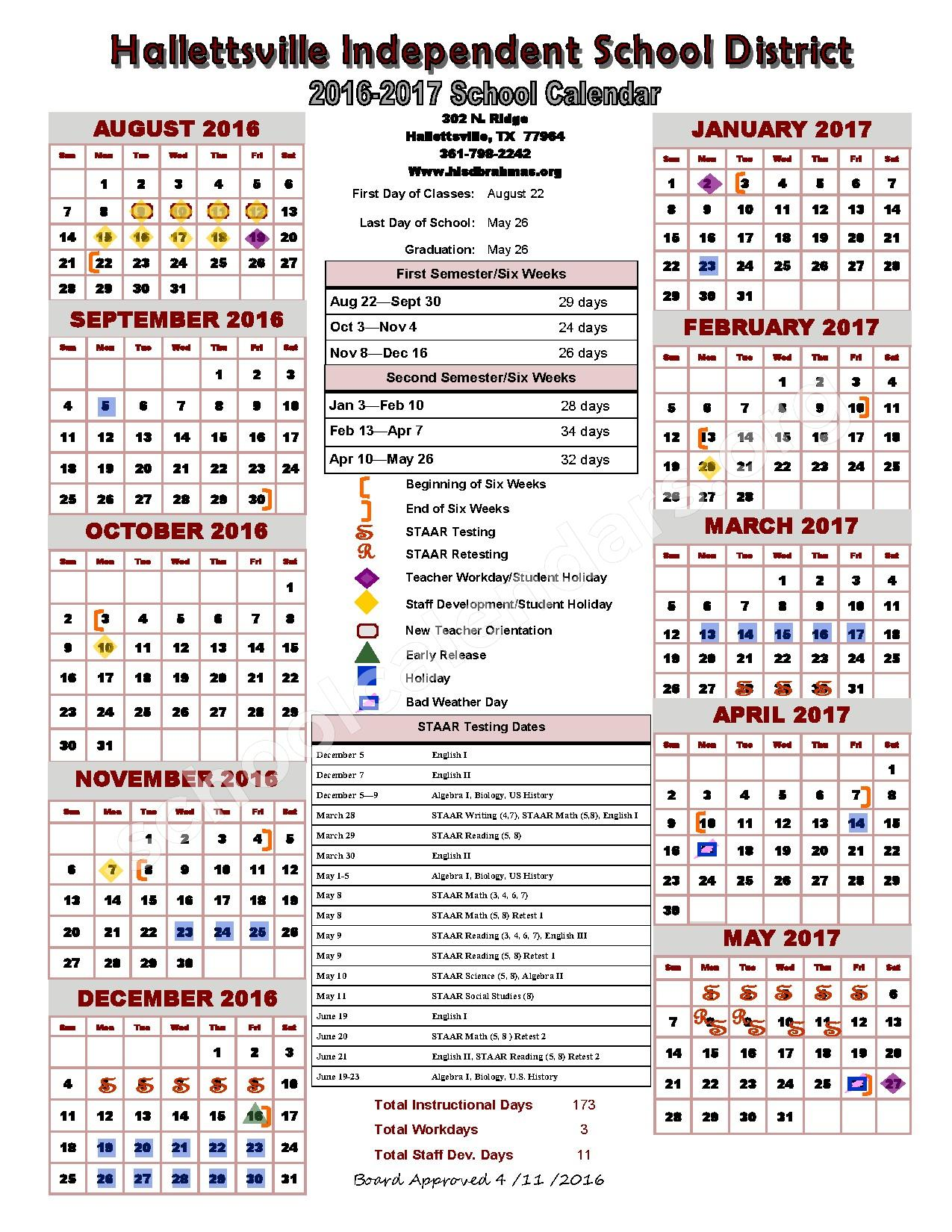 2016 - 2017 District Calendar – G O A L S Program – page 1