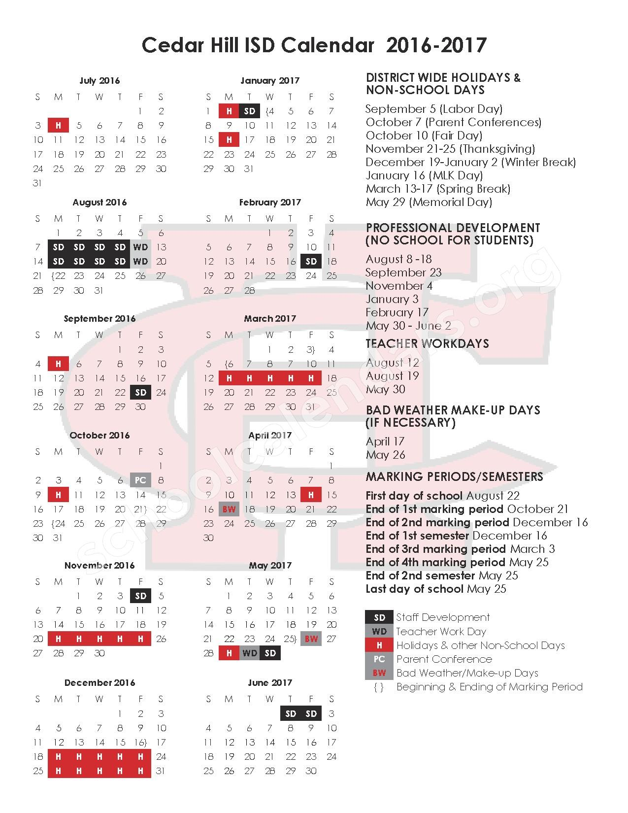 2016 - 2017 CHISD Calendar – Cedar Hill Independent School District – page 1