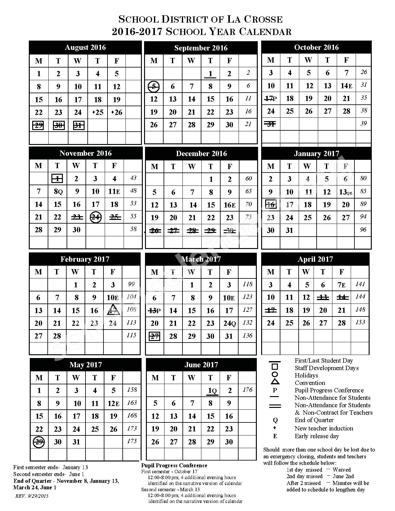 2016 - 2017 District calendar – Longfellow Middle School – page 1